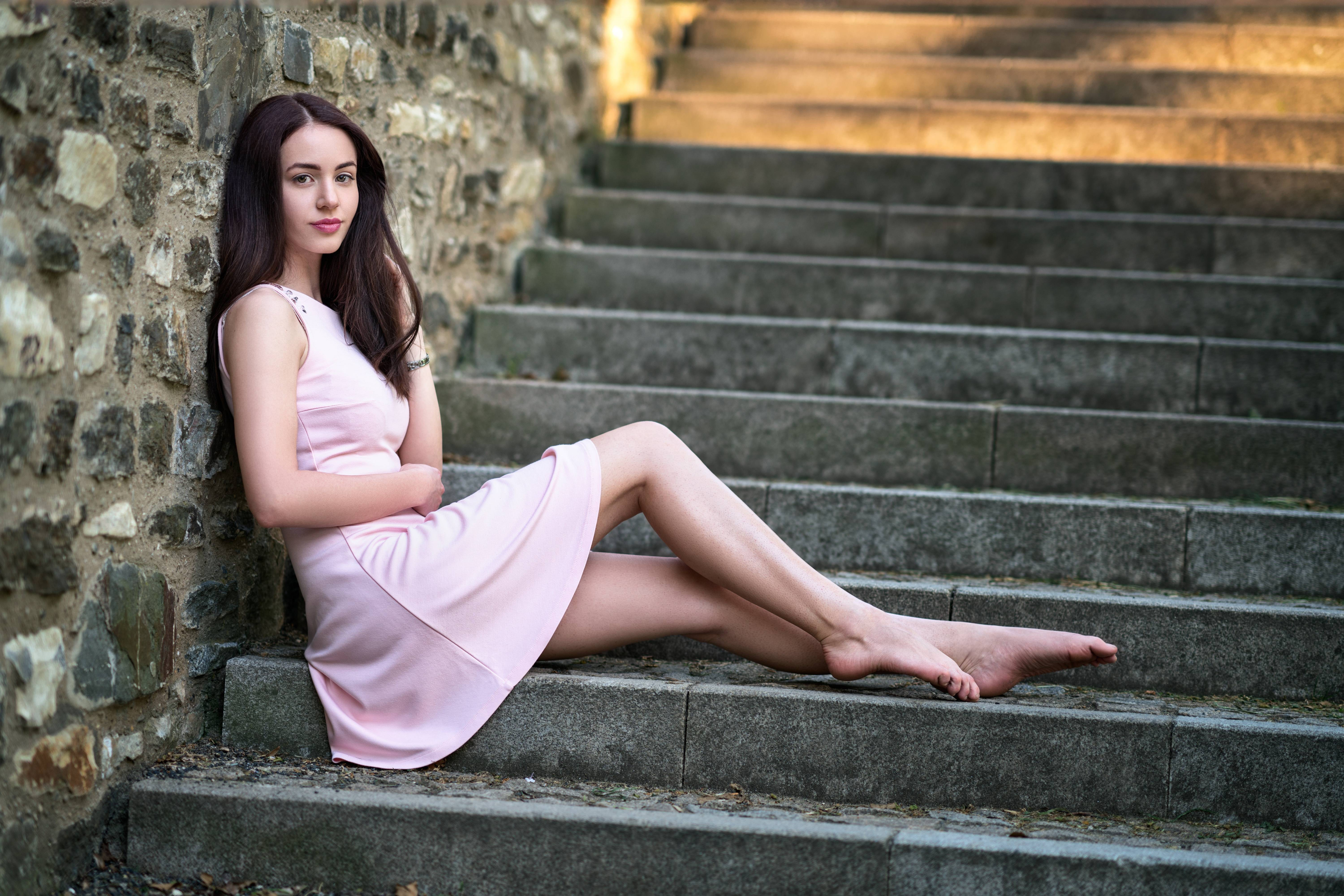 Beautiful Brunette Girl In Pink Dress Hd Girls 4k