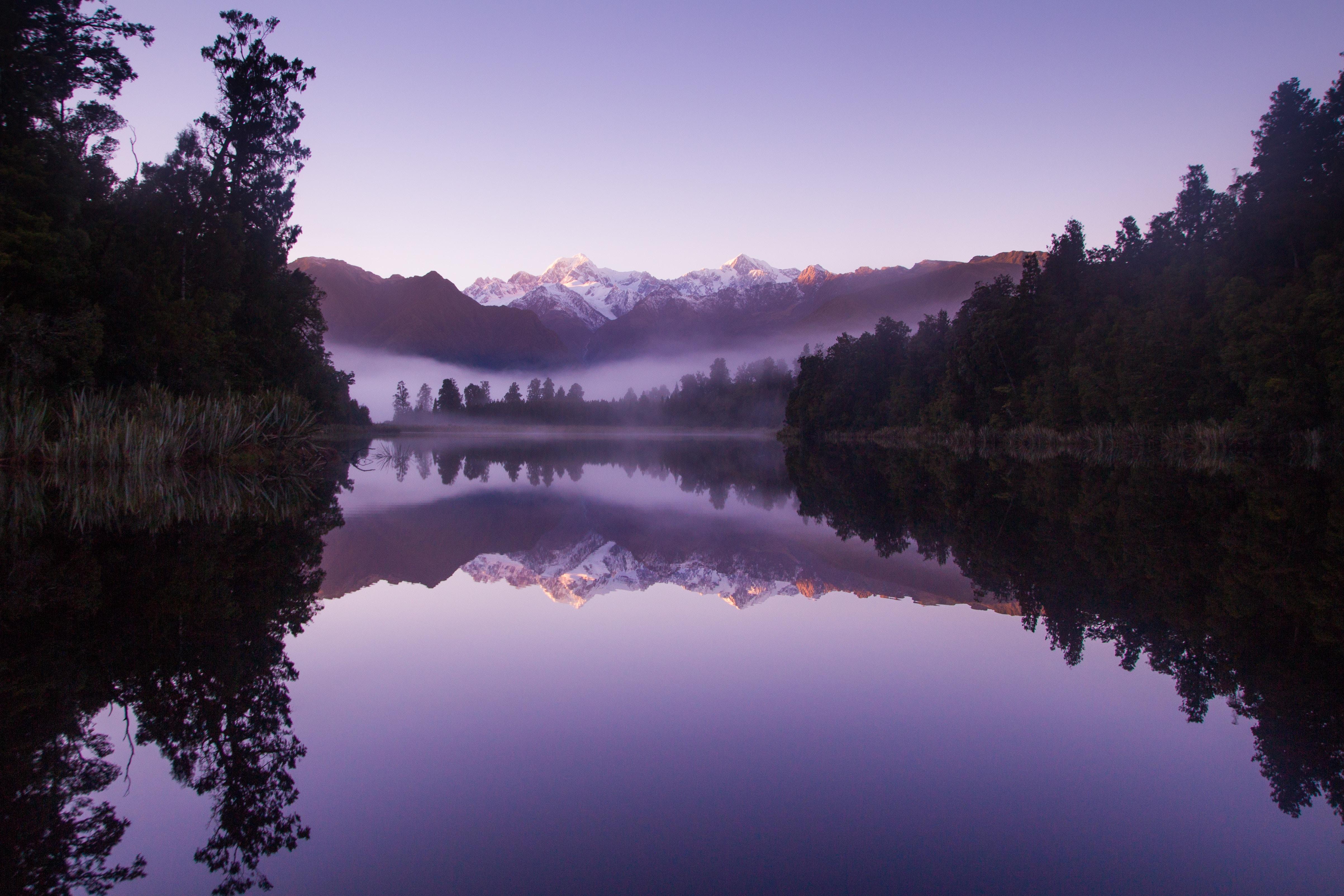 Beautiful Purple Weather Landscape Of Lake Matheson, HD ...