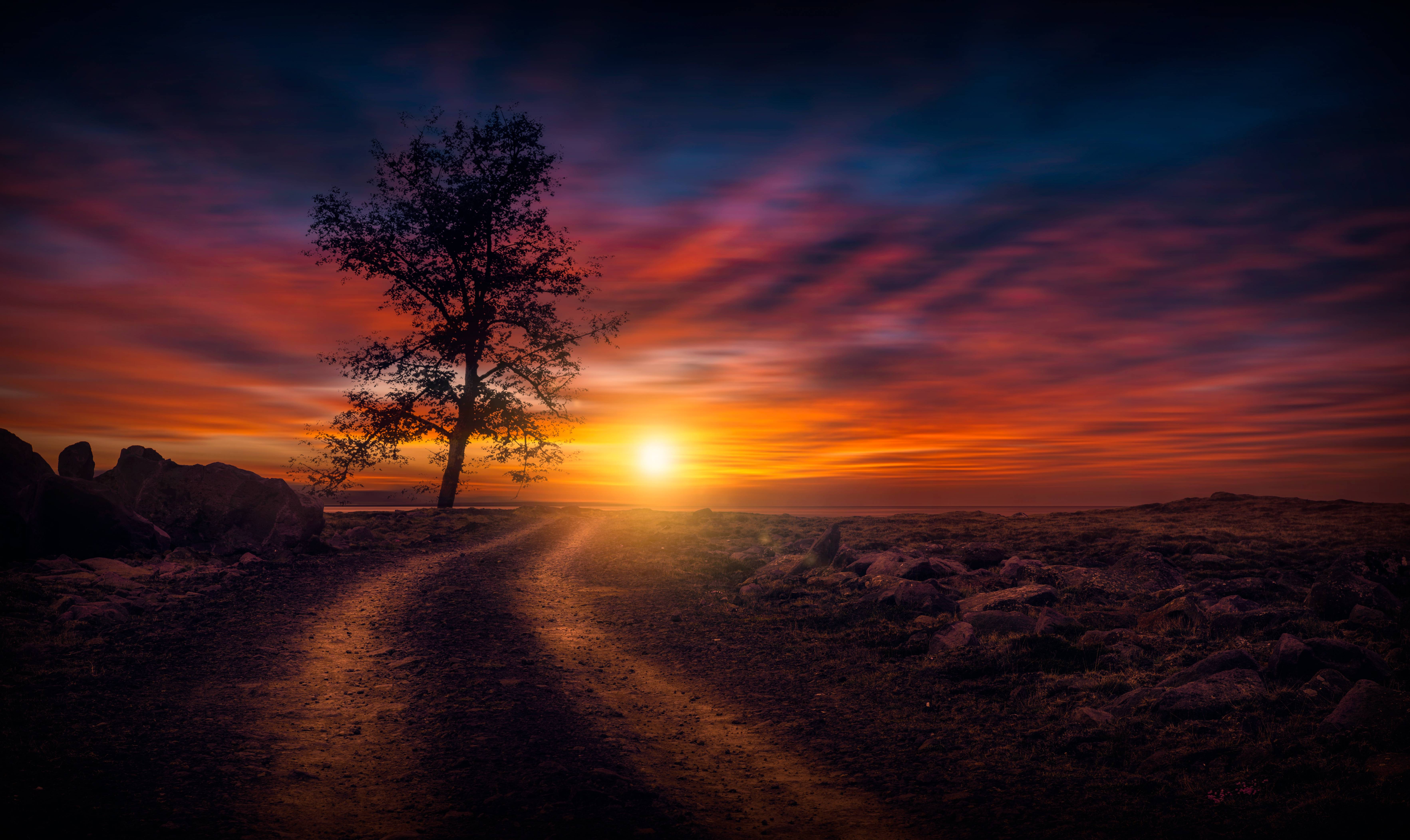Beautiful Sunset On Dirt Road Hd Nature 4k Wallpapers