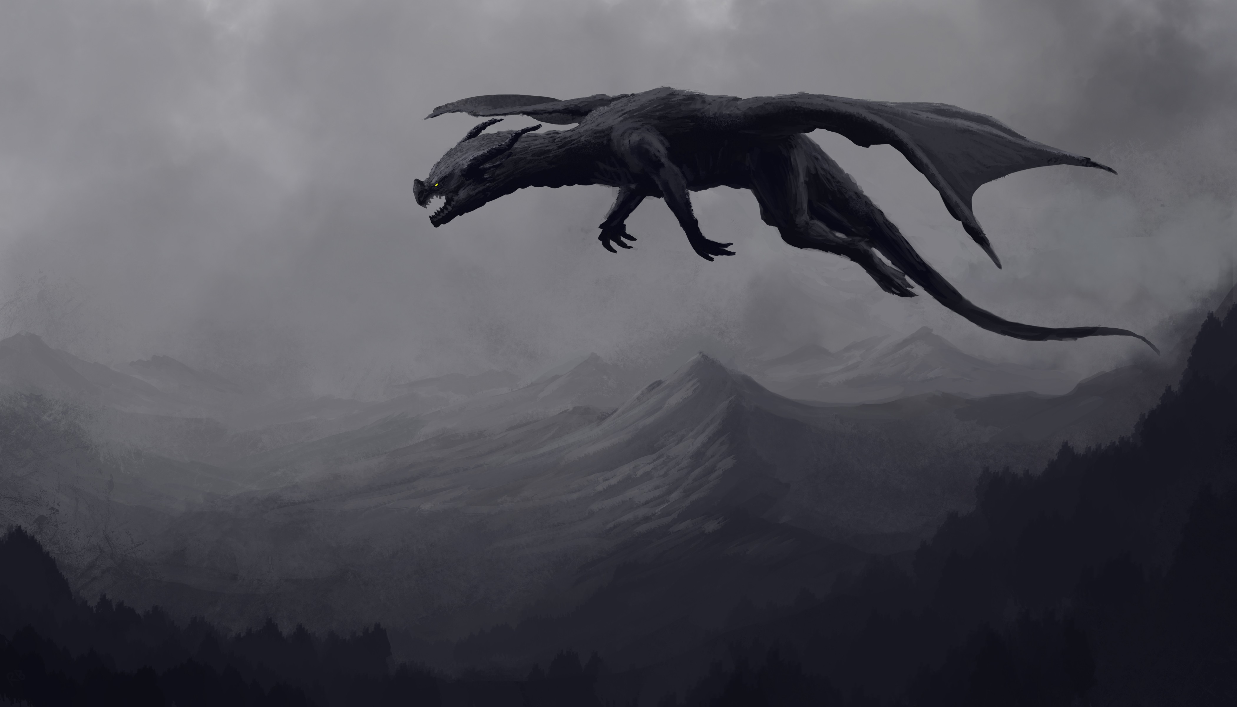 Big Giant Black Dragon 4k, HD Artist, 4k Wallpapers ...