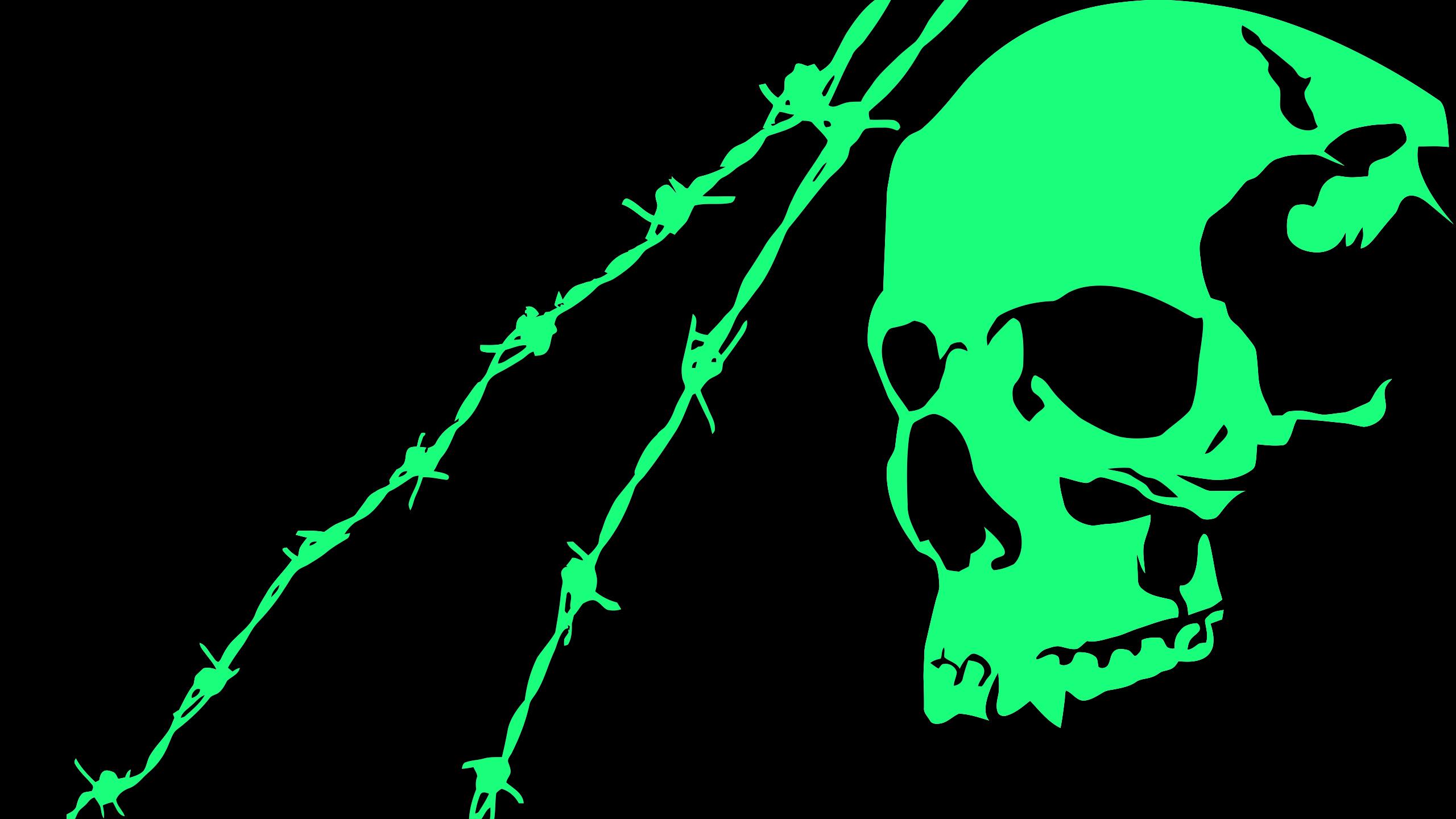 2560x1440 Black Green Skull Minimalist 1440P Resolution HD ...