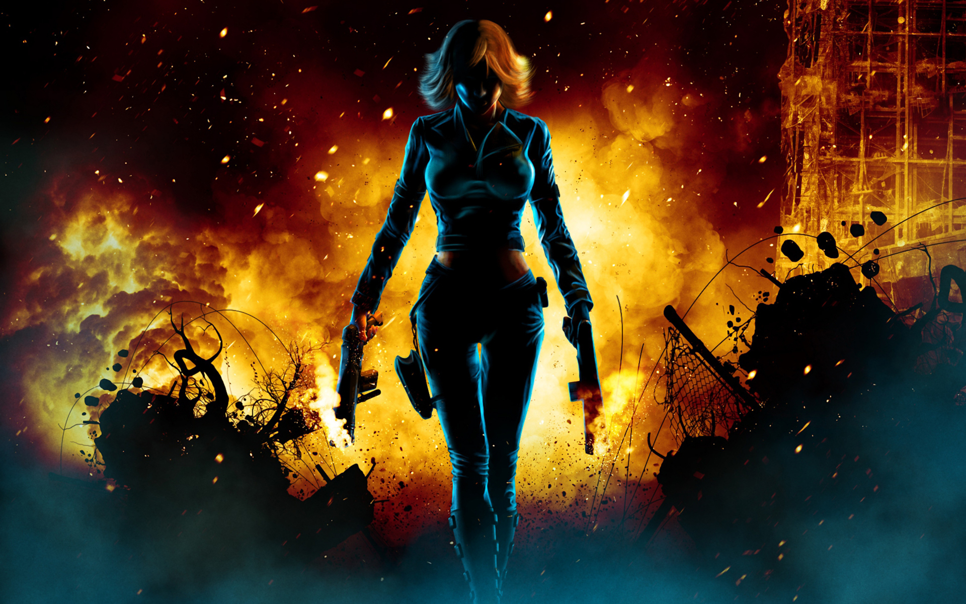 2048x1152 Black Widow Walking Through Fire 2048x1152 Resolution Hd