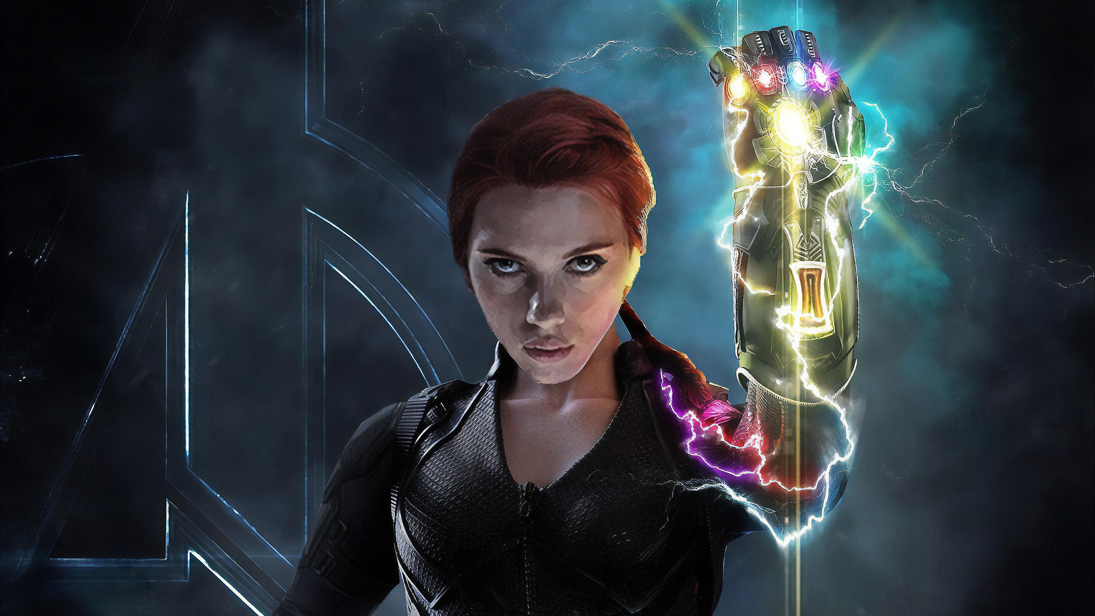 Black Widow With Infinity Gauntlet, HD Superheroes, 4k