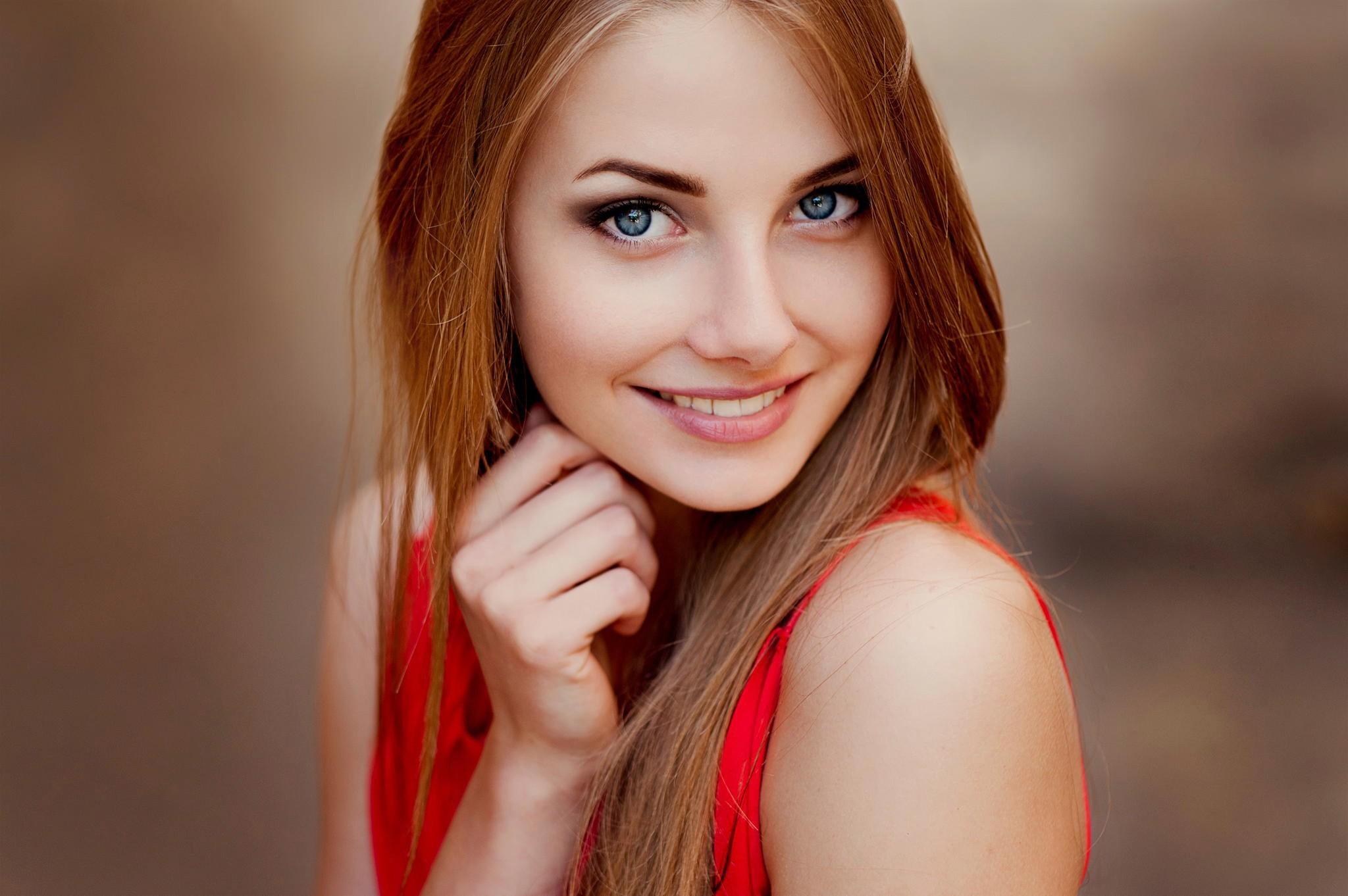 Blonde girl blue eyes, hair naked red teen