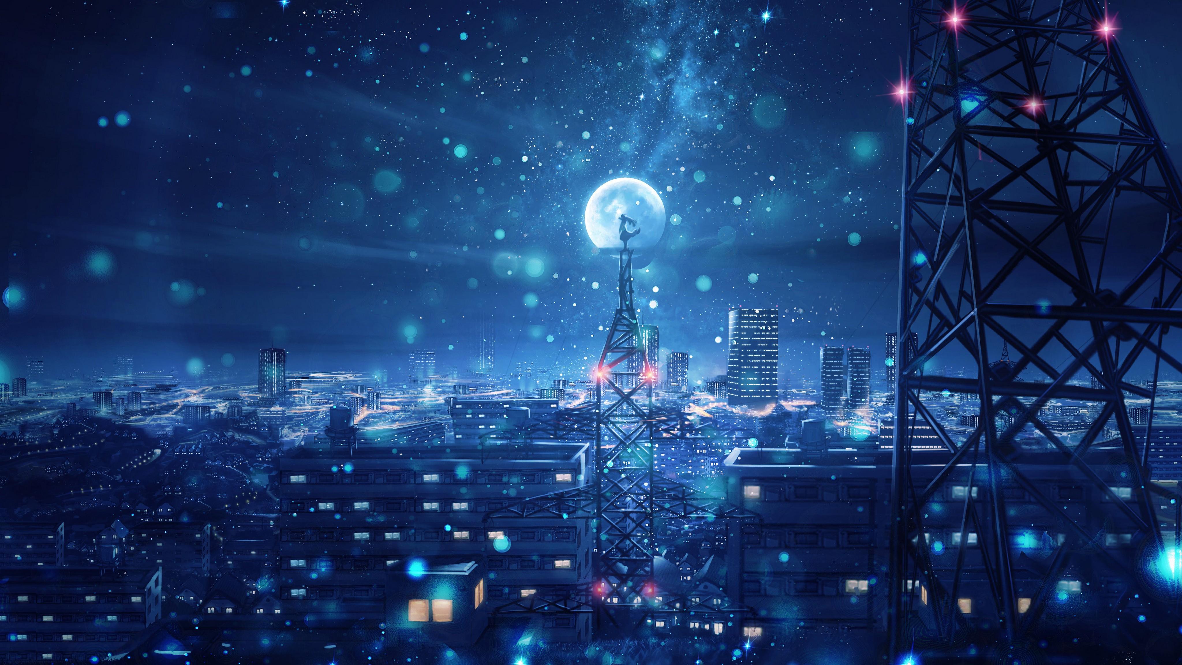 Blue Night Big Moon Anime Scenery 4k, HD Anime, 4k ...