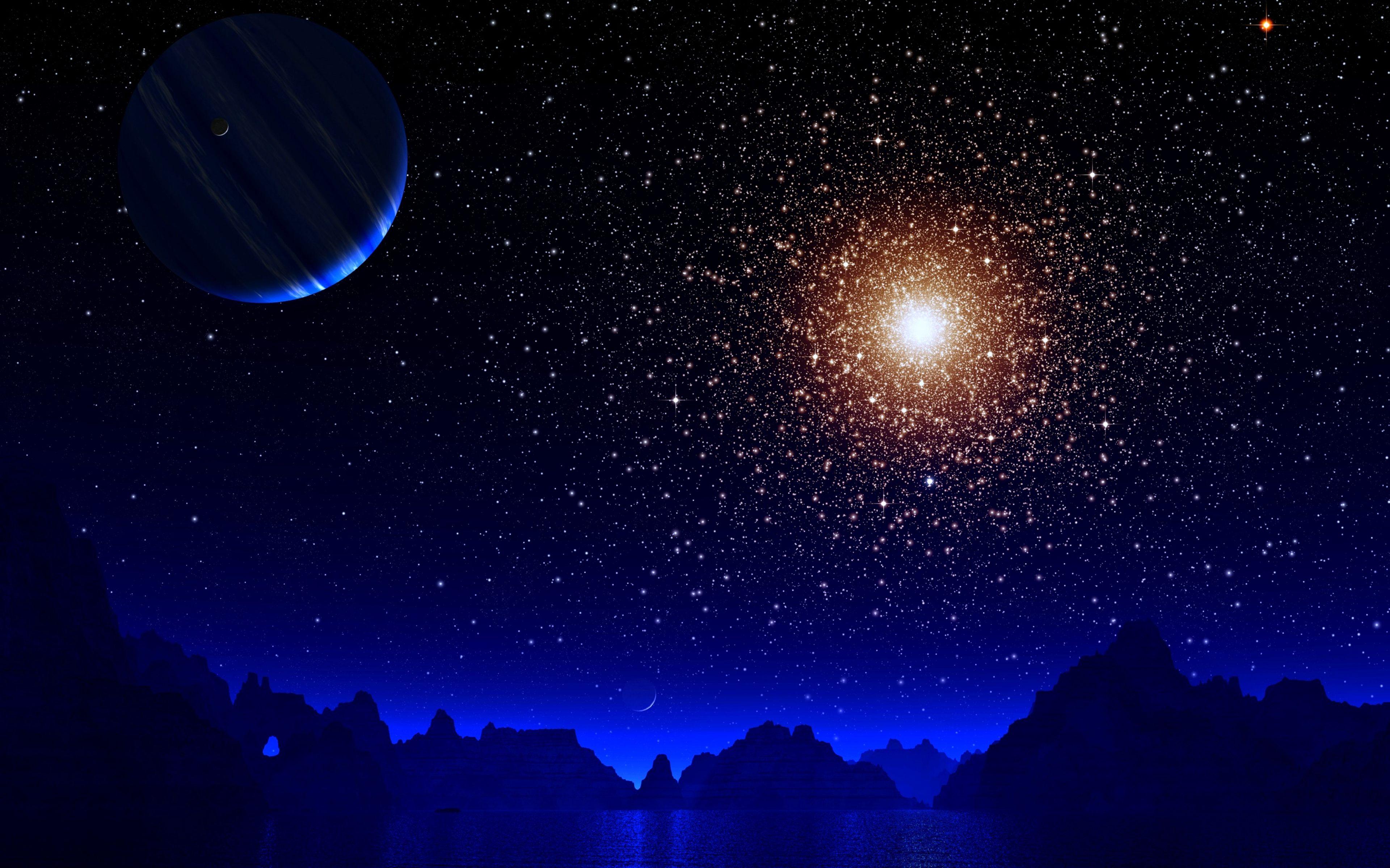 Blue Night Moon Stars Earth 4k