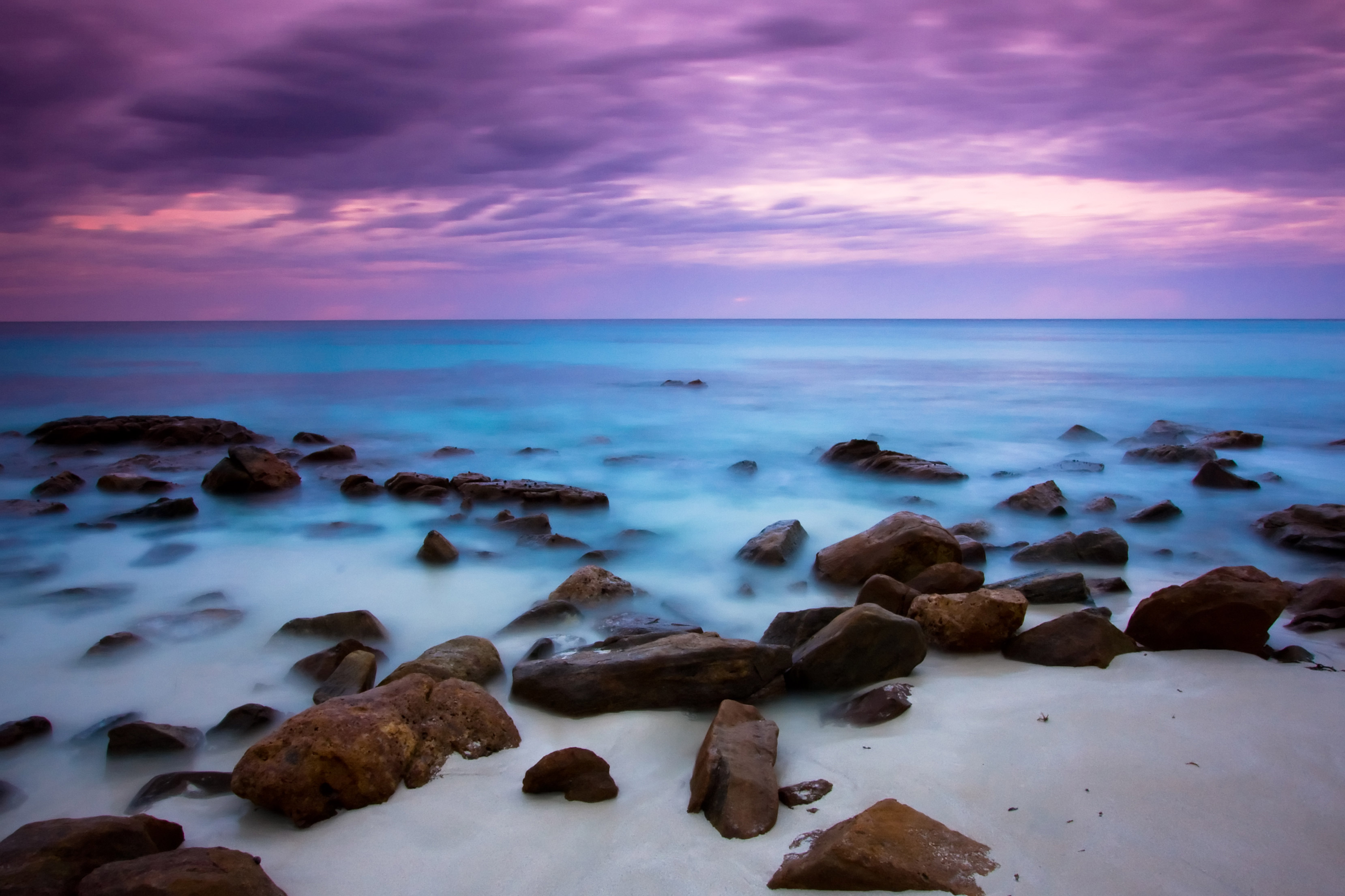 blue sea and purple sky hd nature 4k wallpapers images