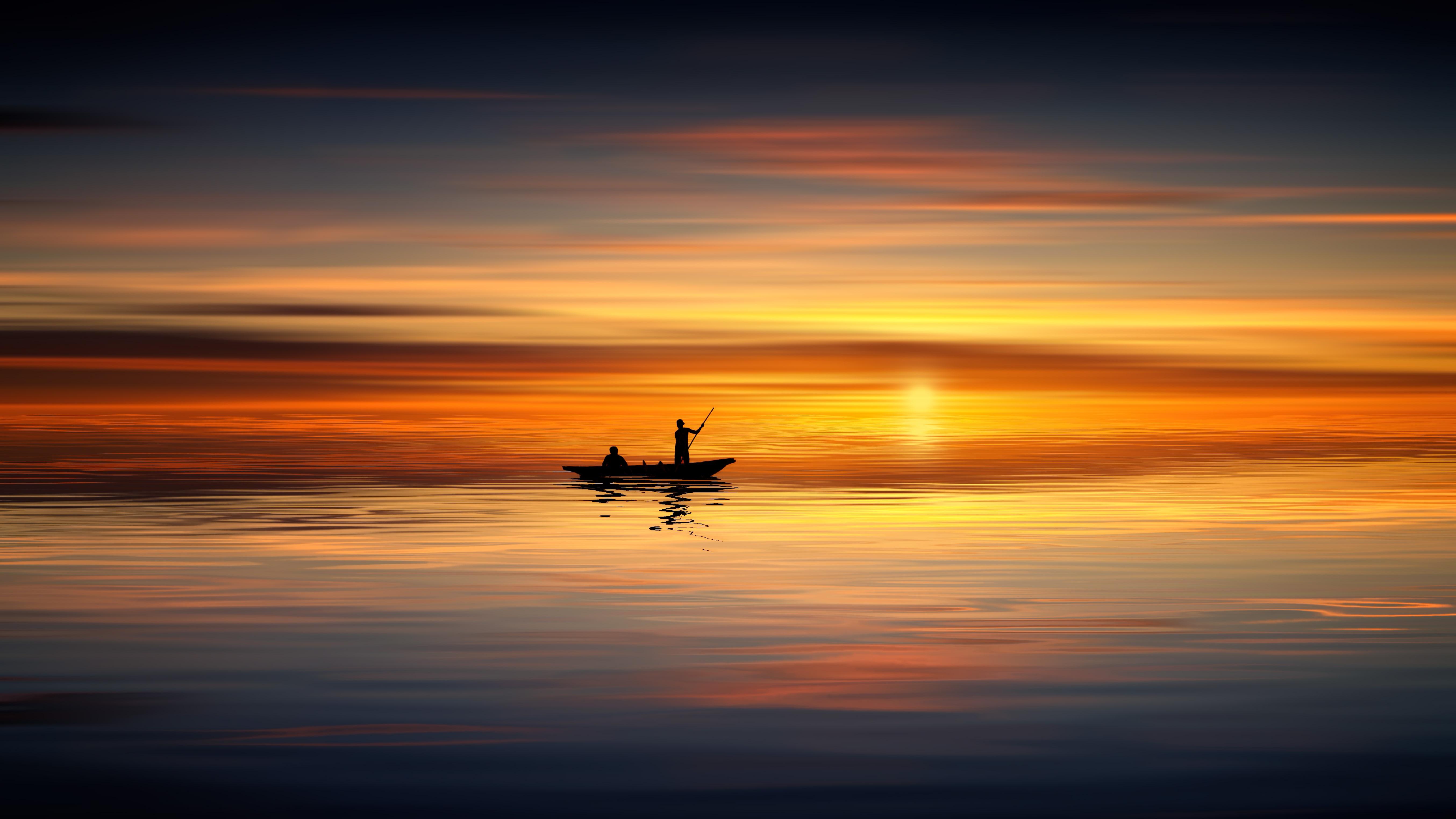 Wallpaper Fisherman Sunset Boat Hd Creative Graphics