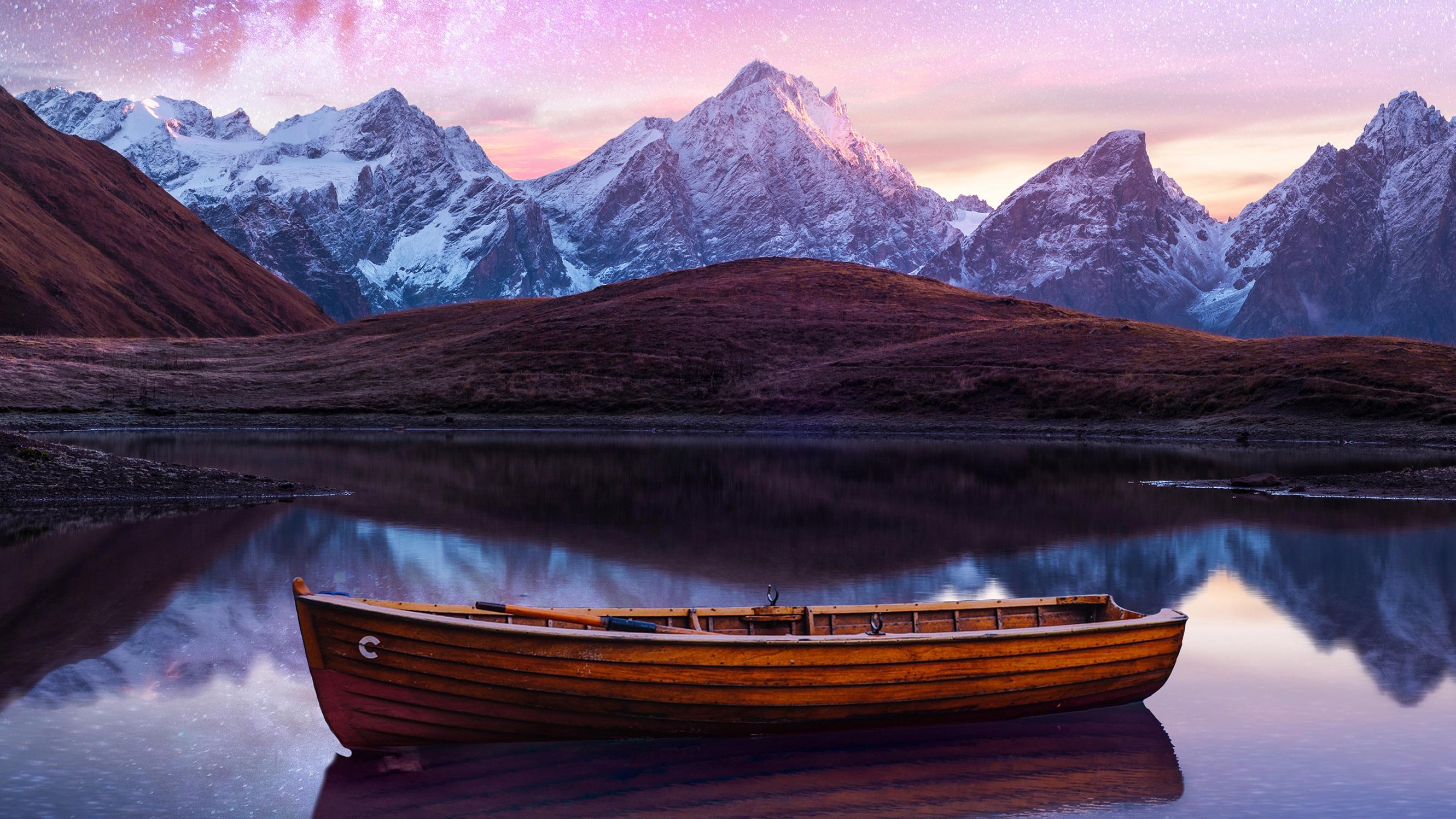 2560x1440 Boat Starry Night Sky 1440P Resolution HD 4k ...