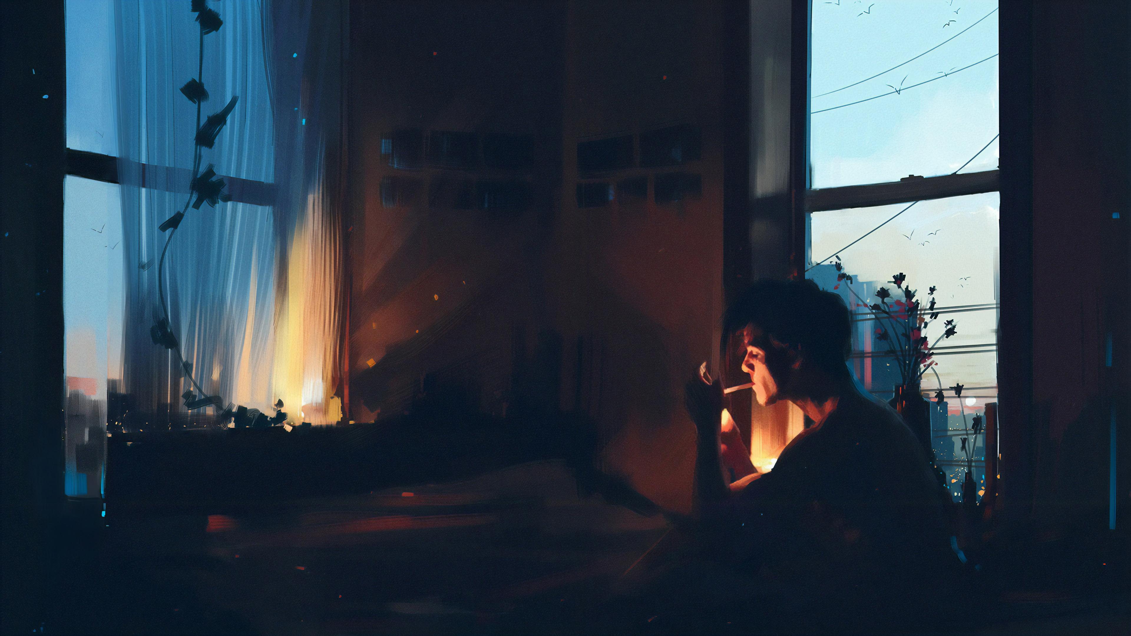 Boy alone in room smoking 4k