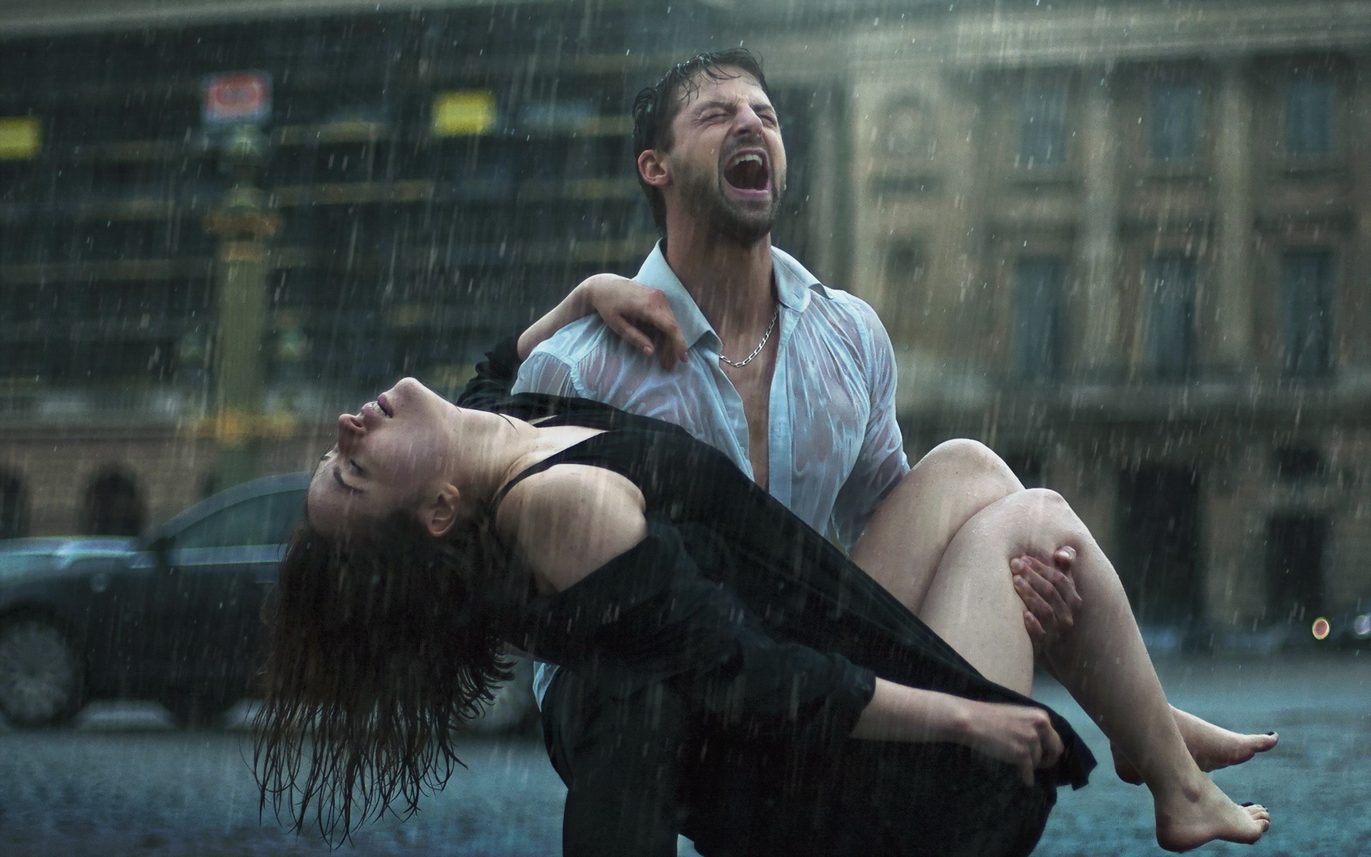 Sad couples crying in rain