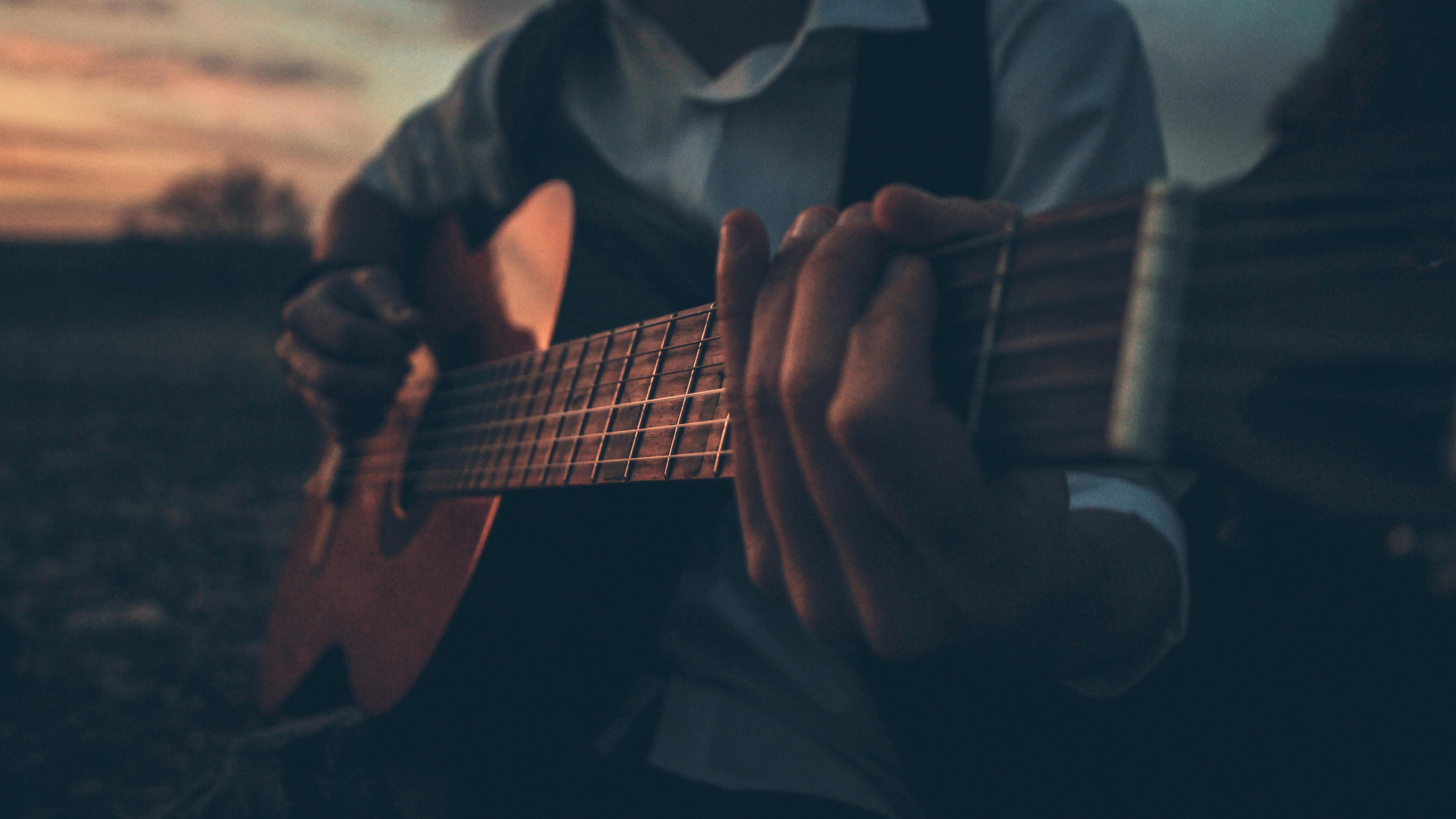 Boy Playing Guitar Outdoors 5k Hd Photography 4k