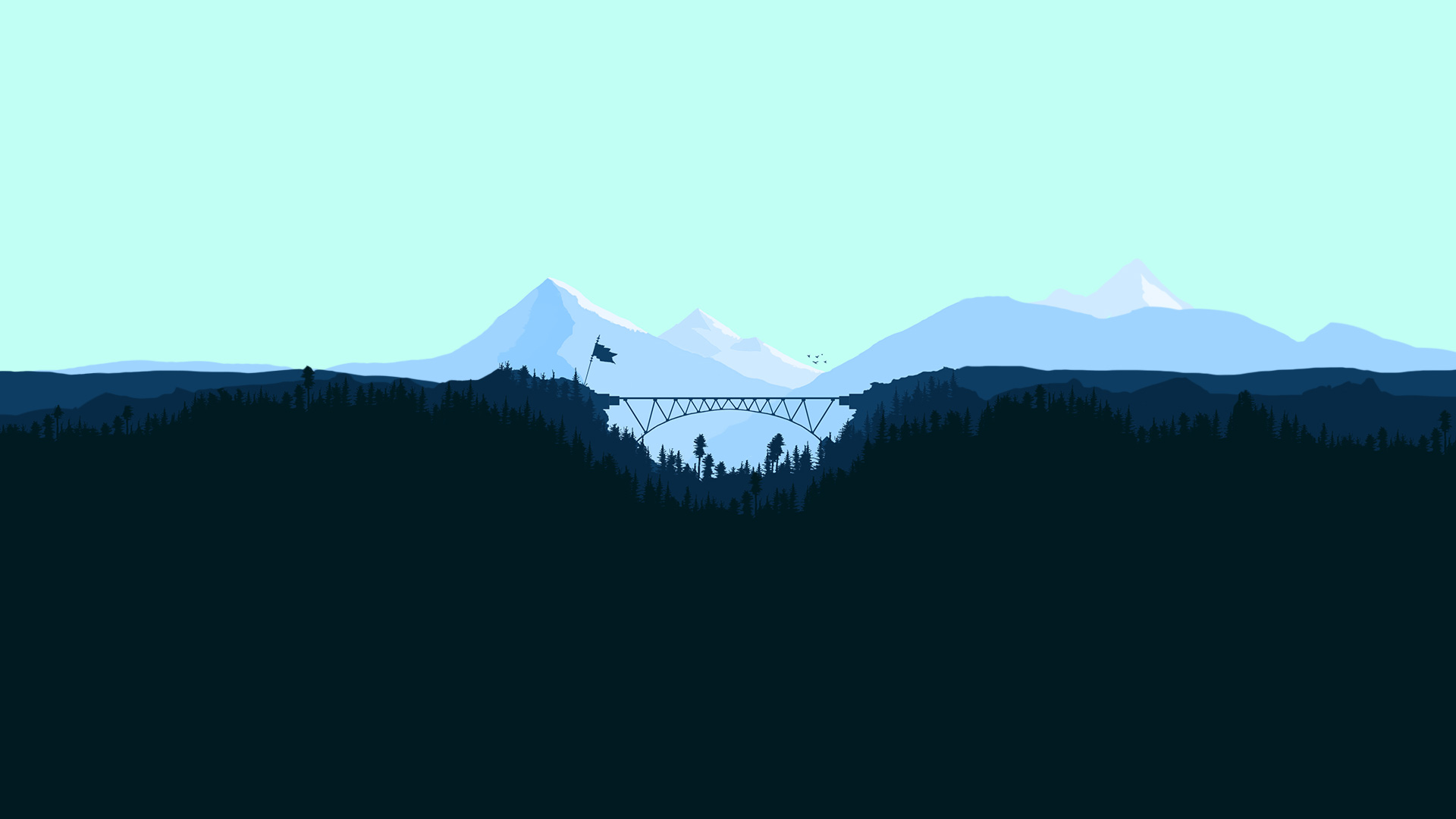 Bridge Between Two Mountains Forest Minimalism Artwork, HD