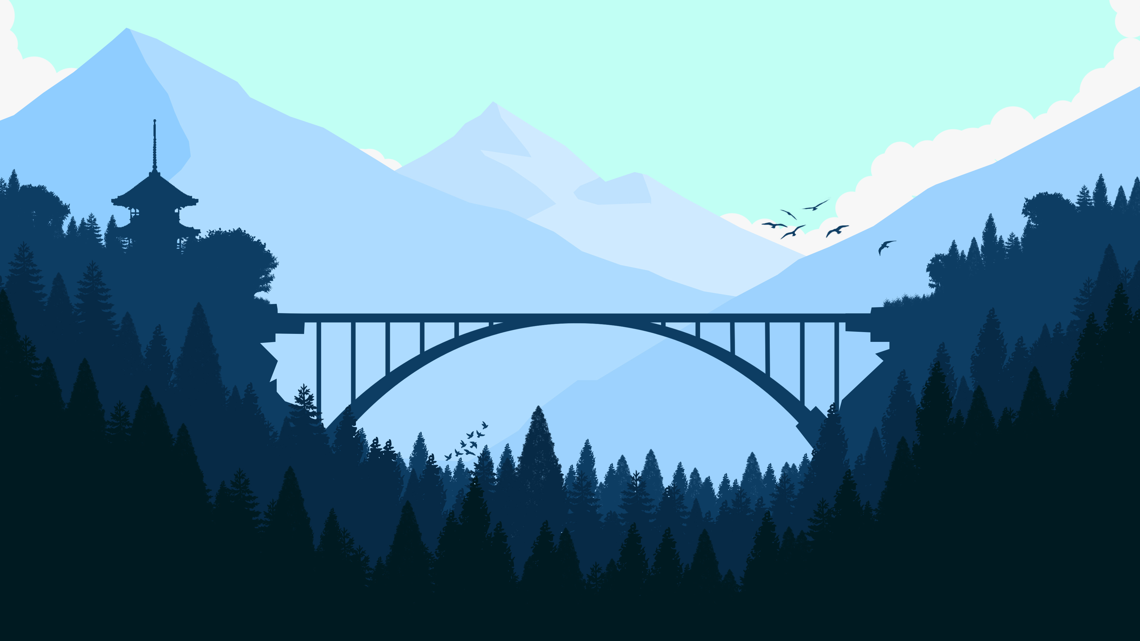 Bridge In Forest Minimalist 4k Hd Artist 4k Wallpapers