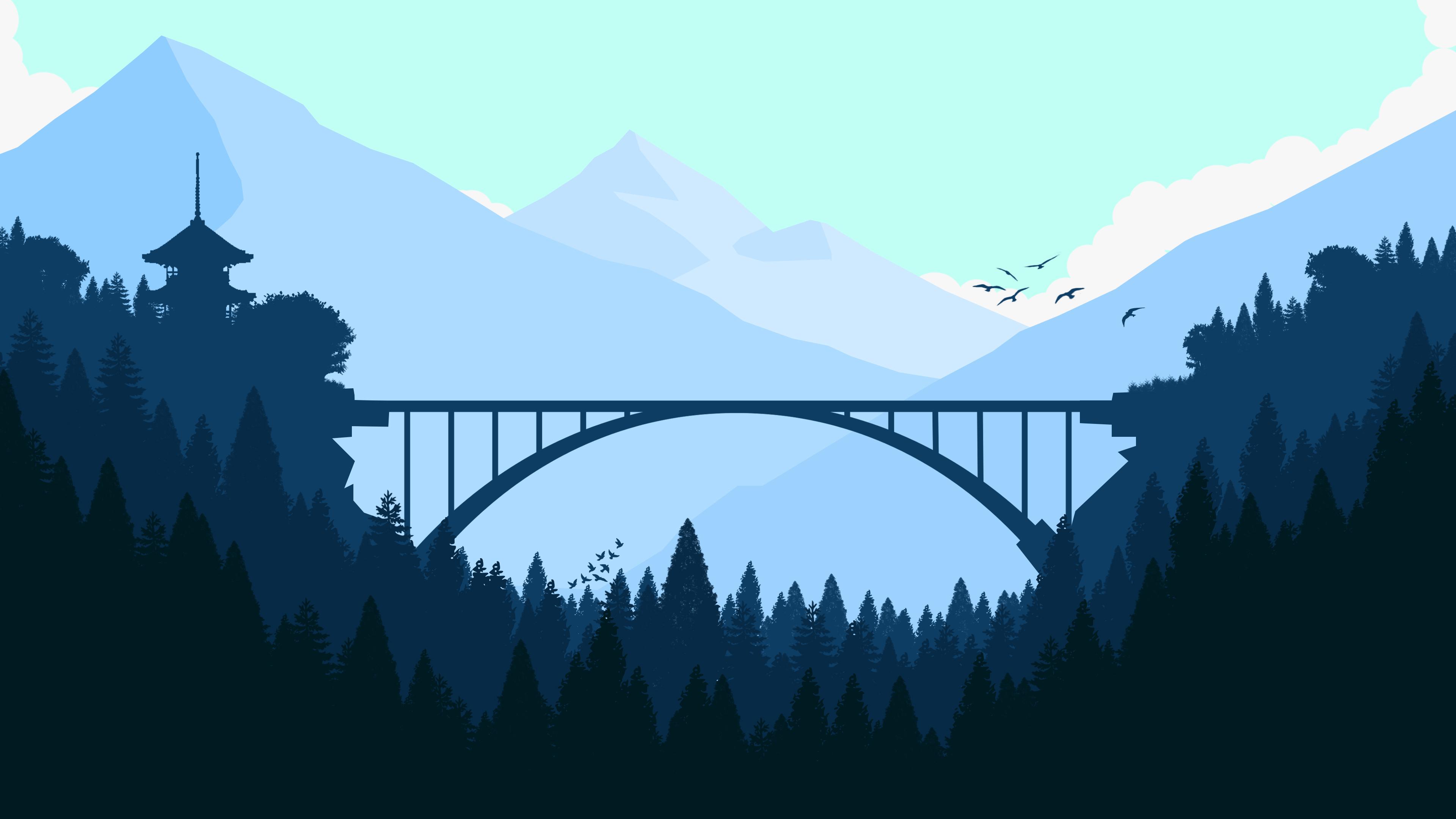 Recovery Mountain Minimalist 4k Hd Desktop Wallpaper For: Bridge In Forest Minimalist 4k, HD Artist, 4k Wallpapers