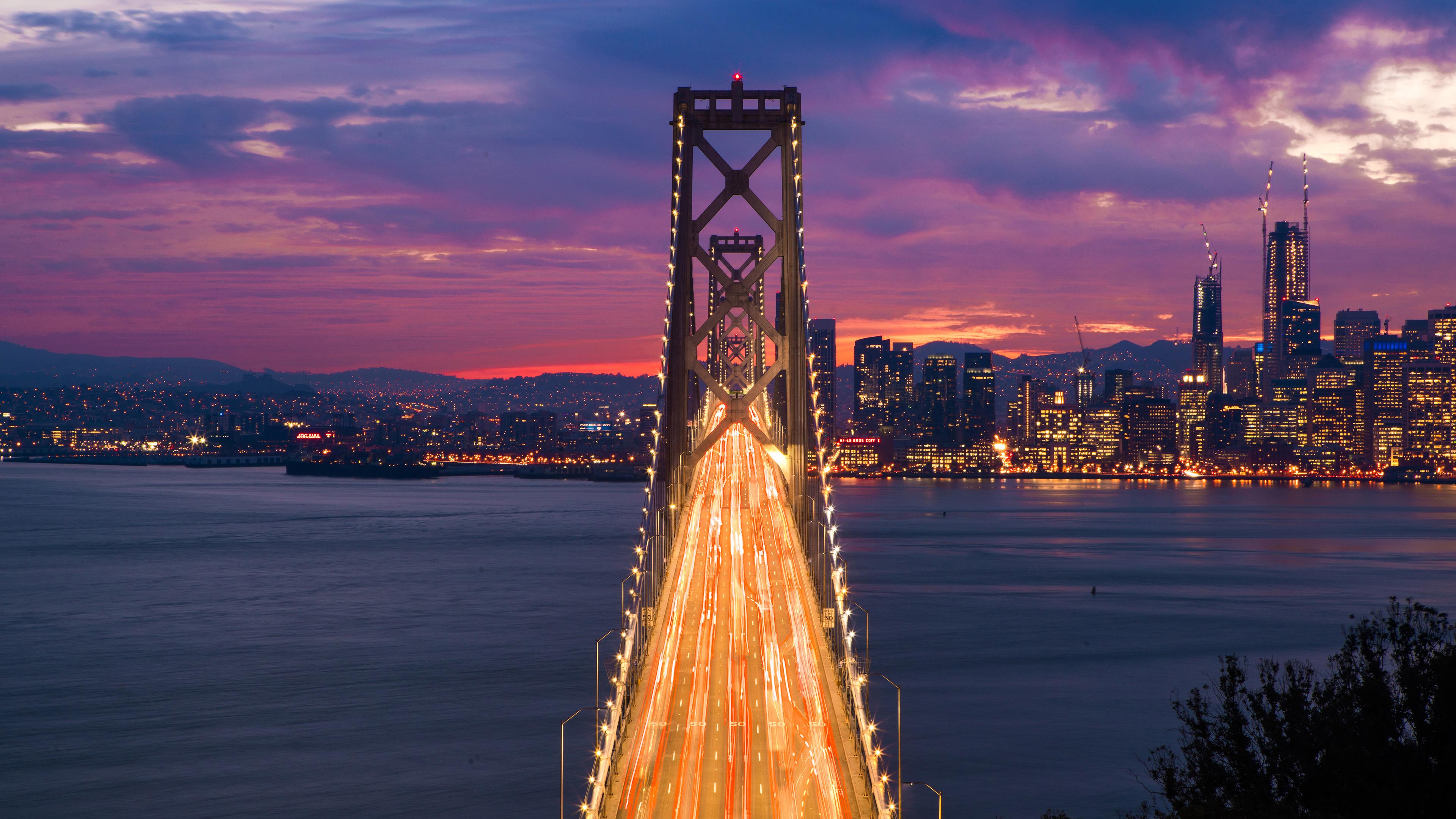 Bridge Time Lapse Night Clouds Cityscape 4k, HD ...