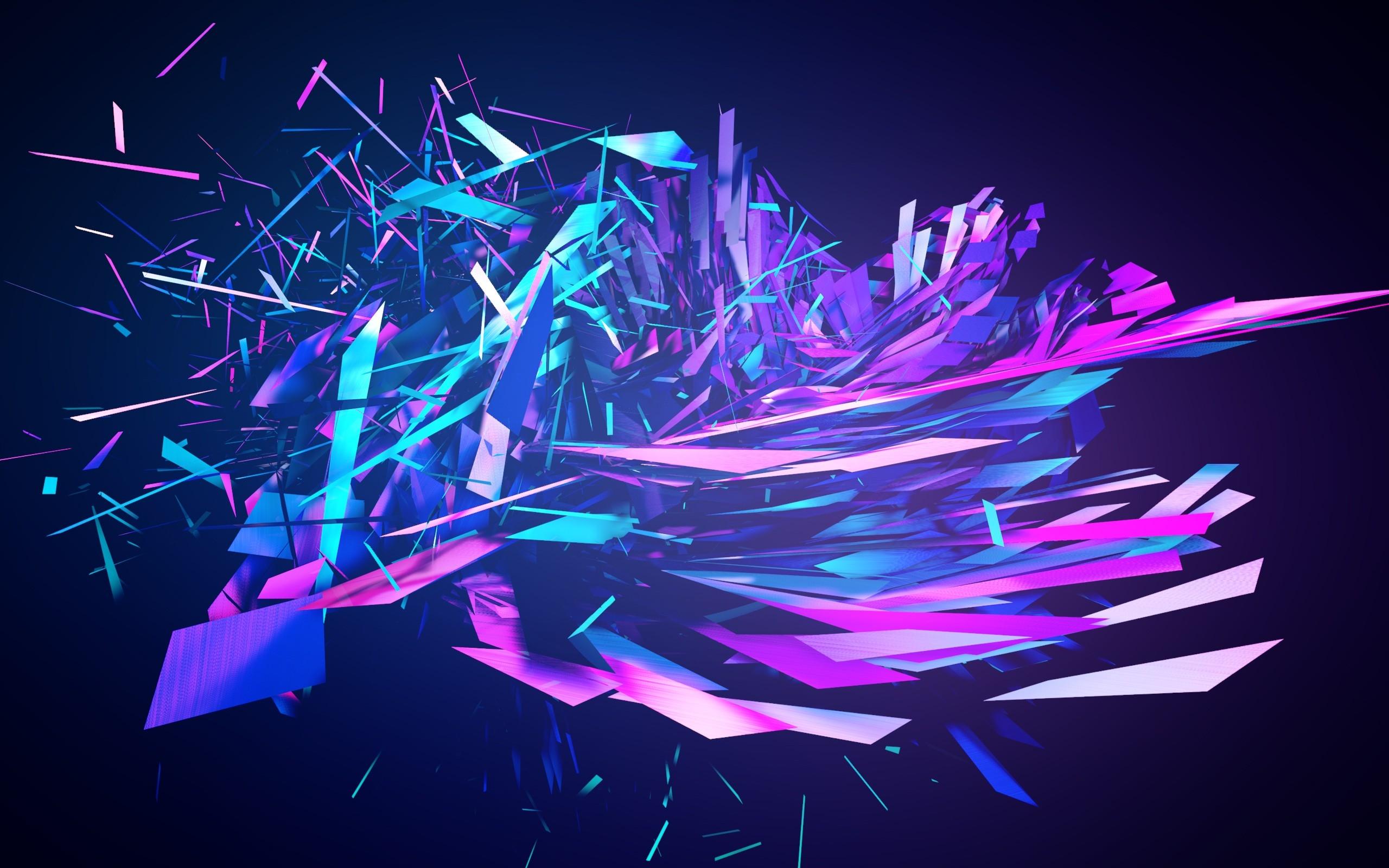 Xiaomi Wallpaper Blue Black: Broken Into Pieces Abstract, HD Abstract, 4k Wallpapers