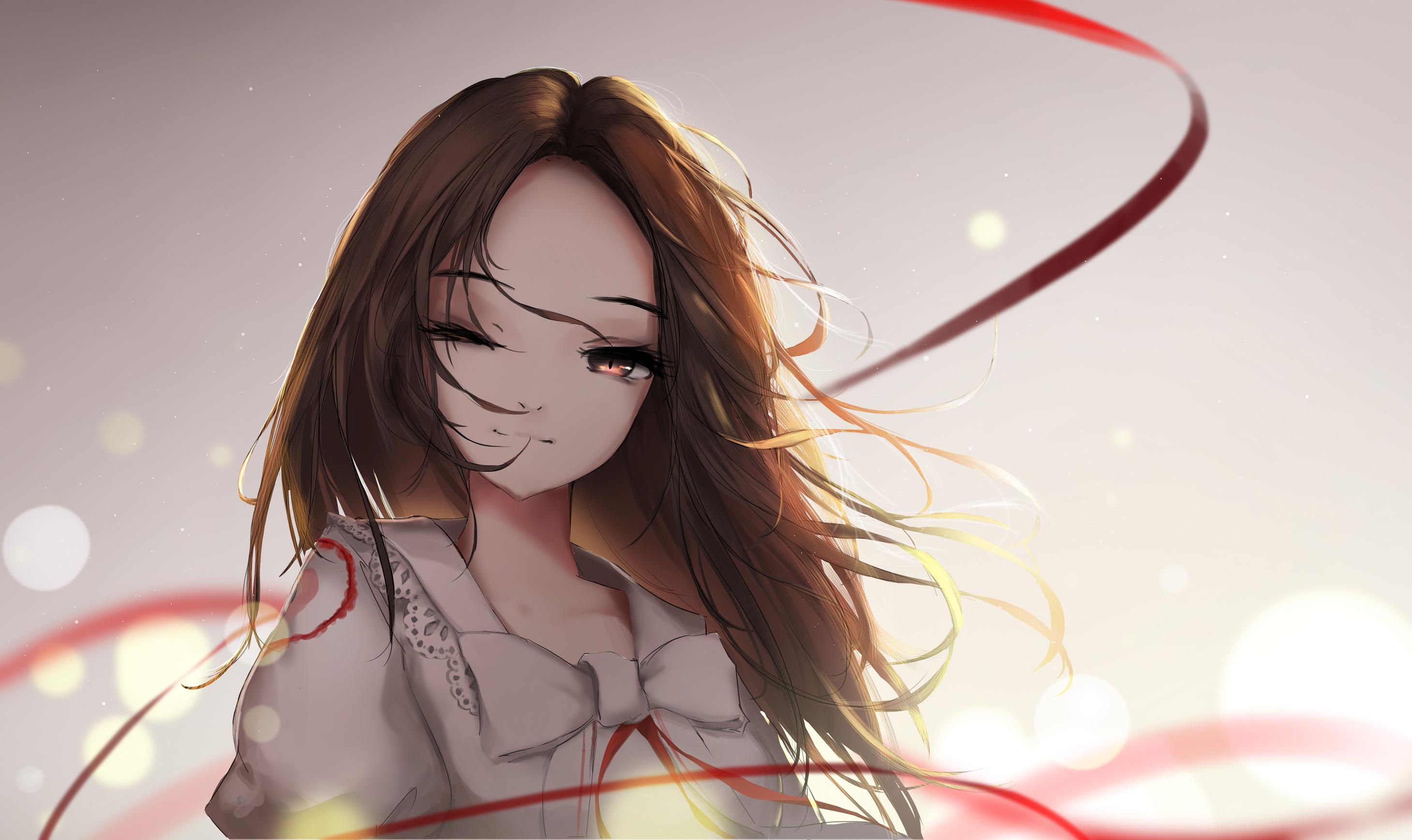 Brown long hair anime girl