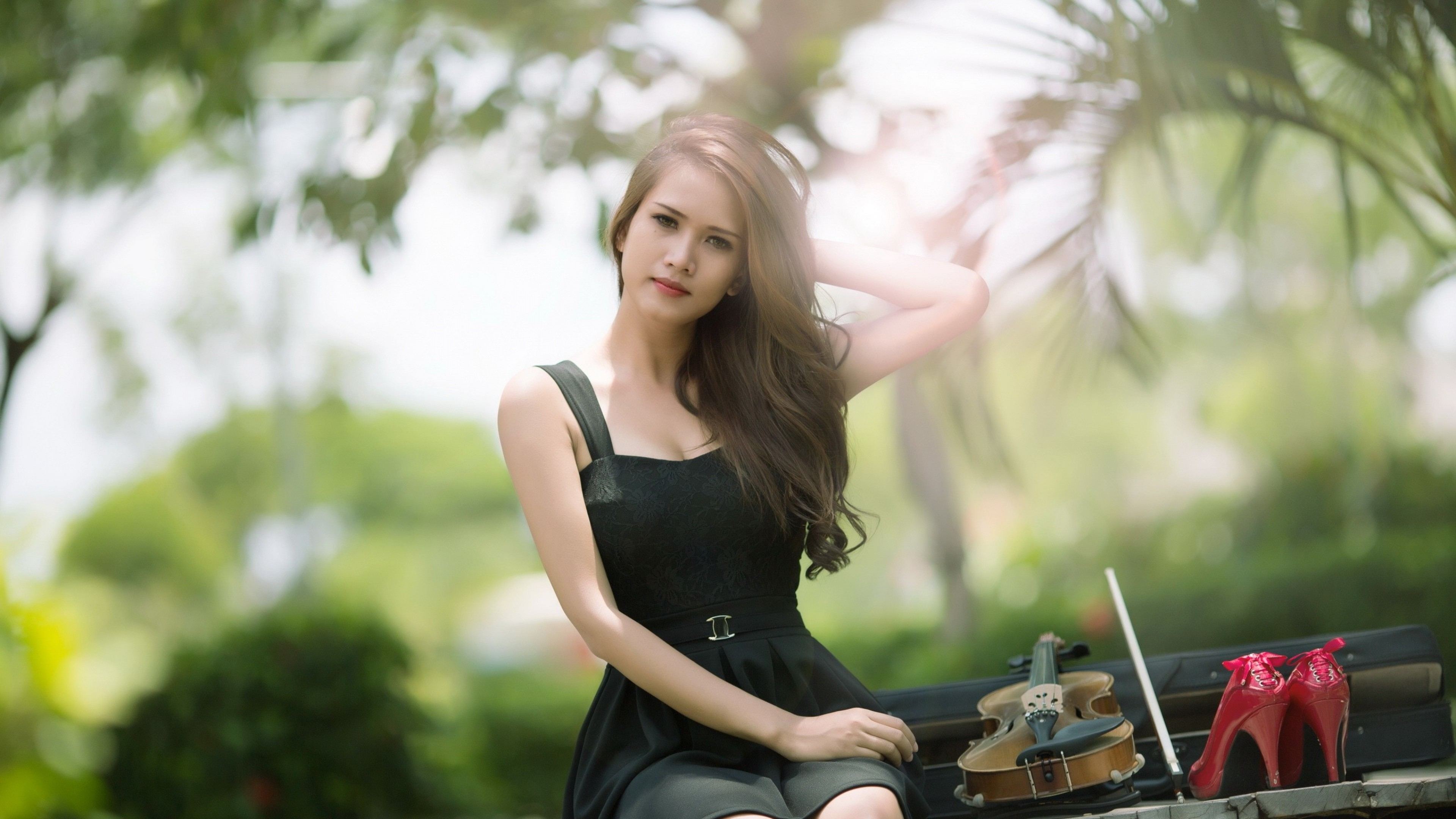Brunette Girl Violin, Hd Girls, 4K Wallpapers, Images, Backgrounds, Photos And Pictures-6529