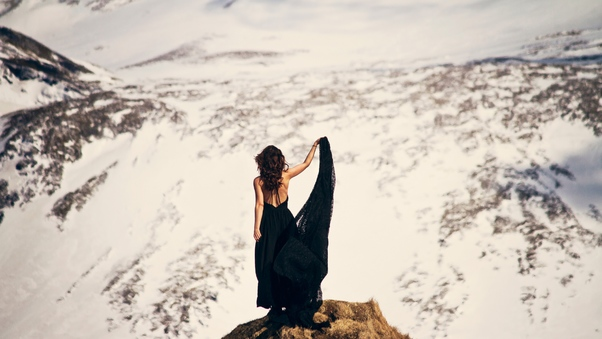 Girl In Black Dress Mountains