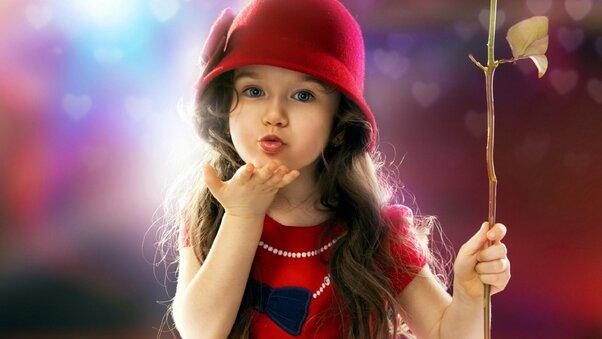 Little girl blowing a kiss hd cute 4k wallpapers images - 4k kiss wallpaper ...