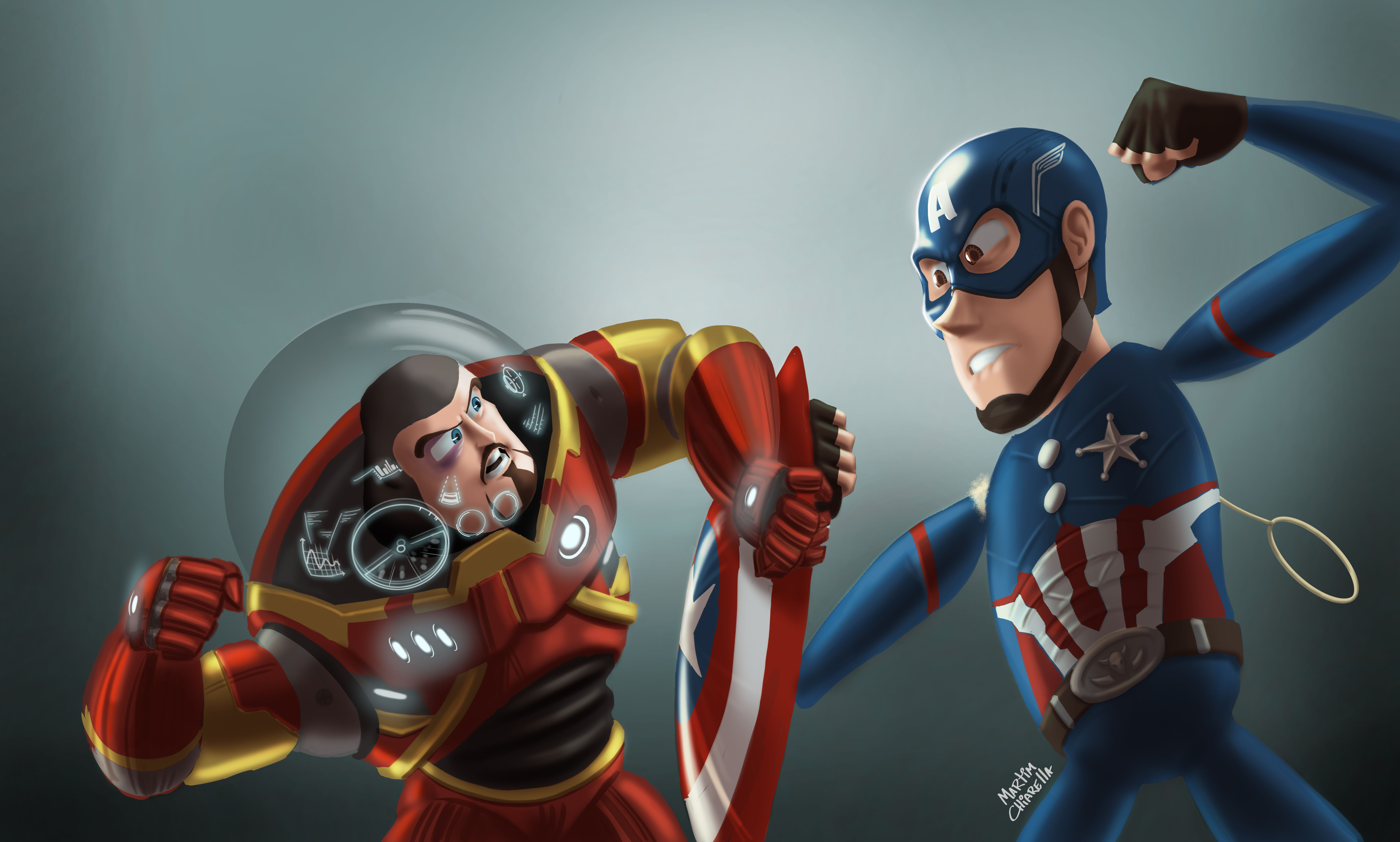 Buzz Lightyear As Iron Man And Sheriff Woody As Captain America Hd