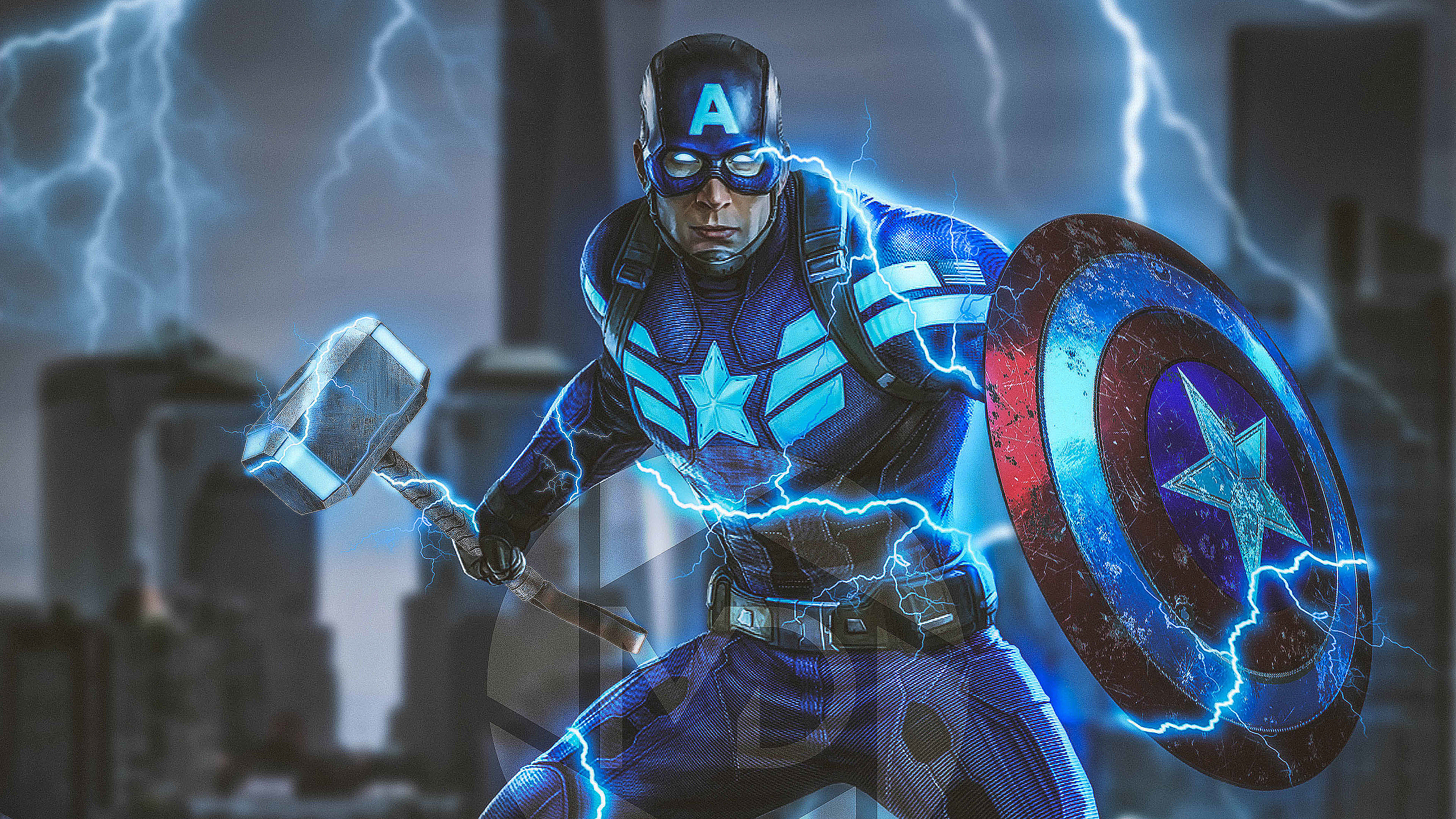 2160x3840 Captain America Mjolnir Avengers Endgame 4k 2019 Sony