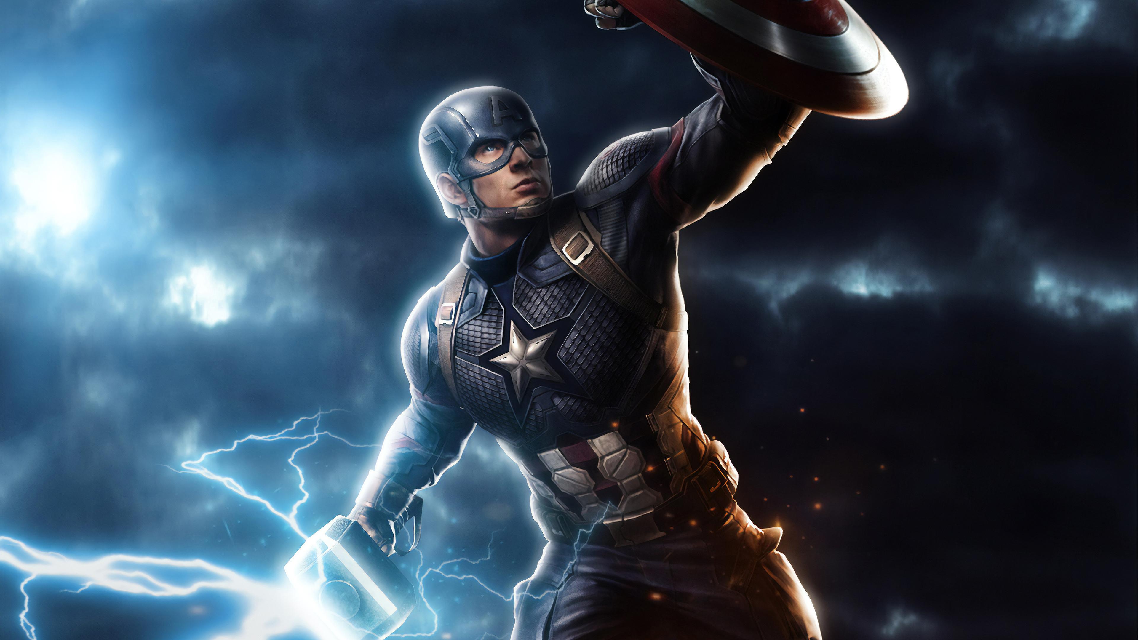 Captain America Mjolnir Avengers Endgame 4k Art Hd