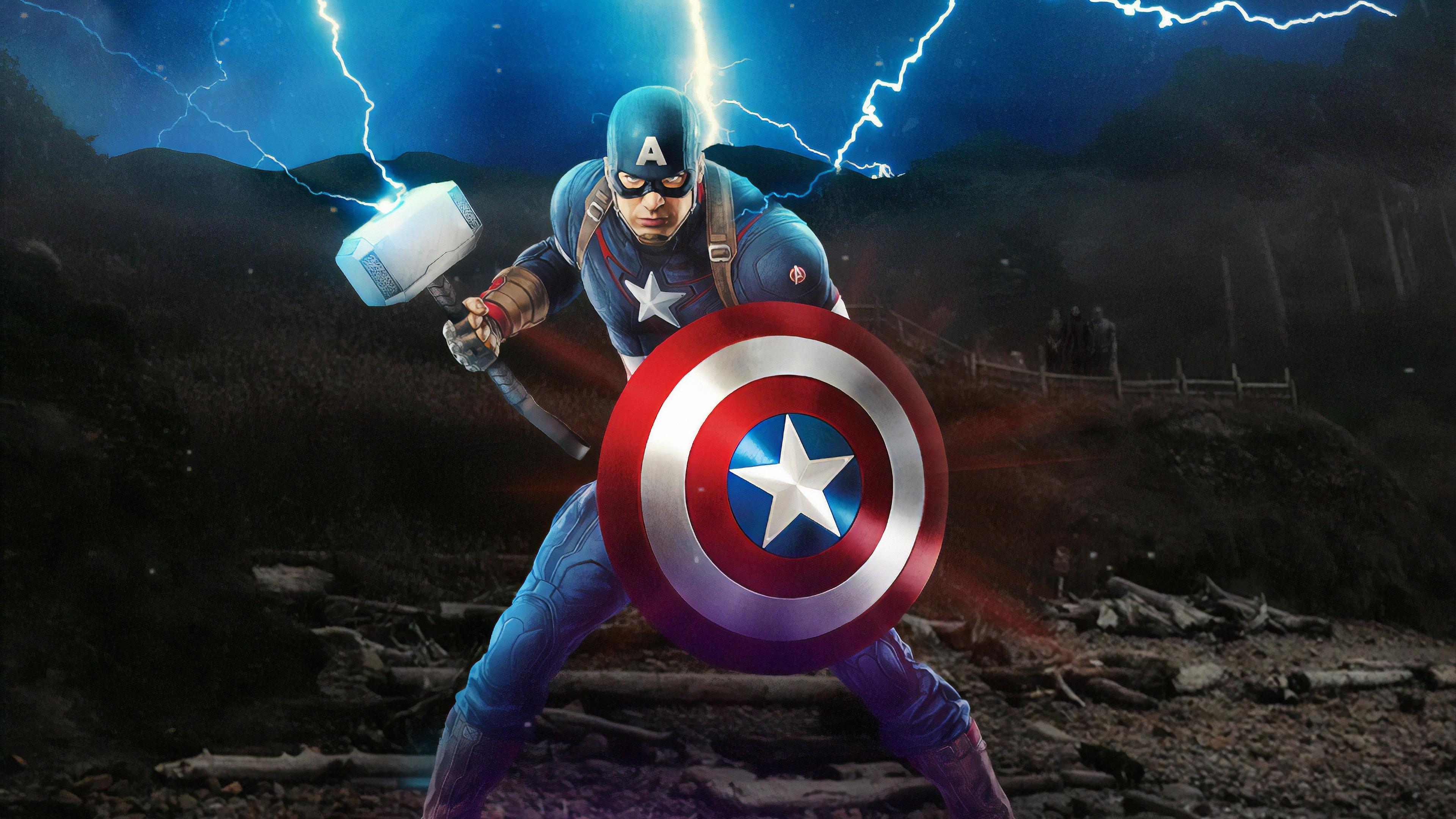 Captain America Mjolnir Avengers Endgame 4k Artwork Hd