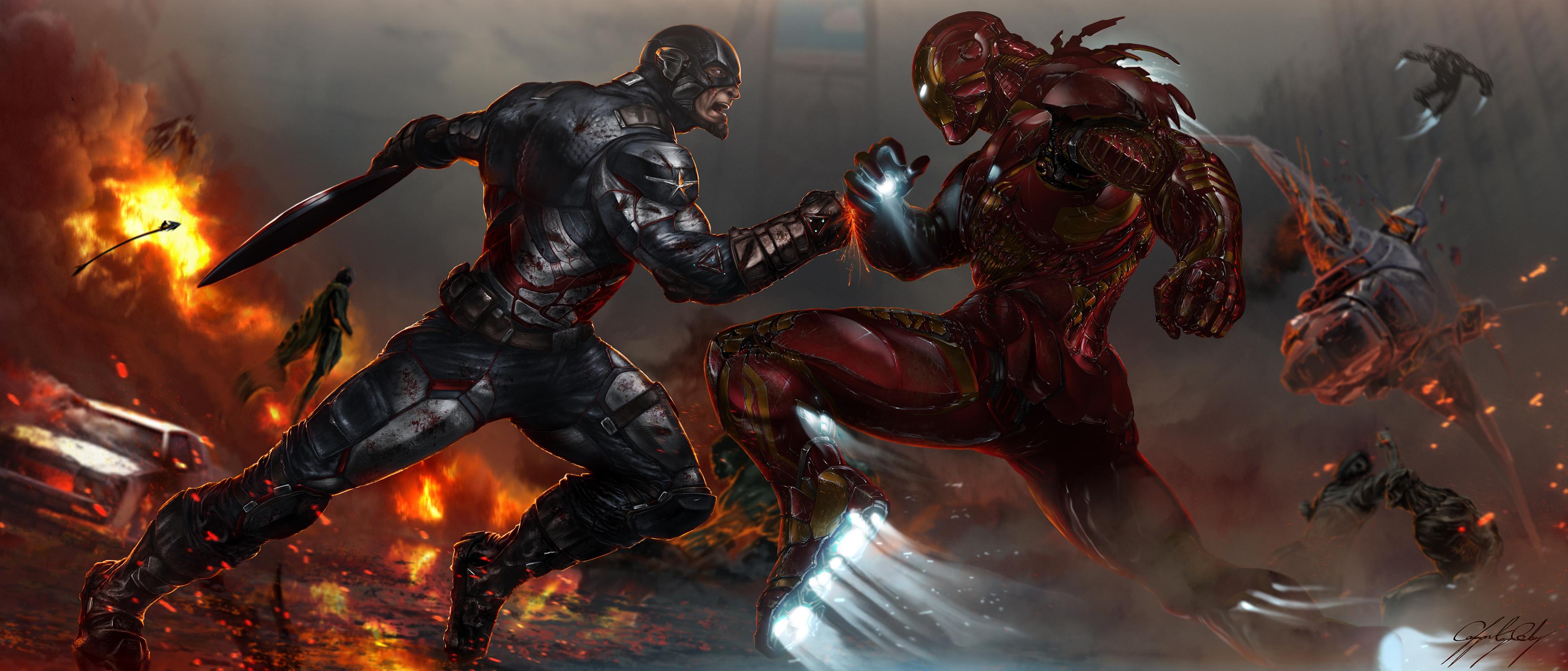 Captain Marvel Fantasy Art Wallpapers Hd Desktop And: Captain America V Iron Man, HD Movies, 4k Wallpapers