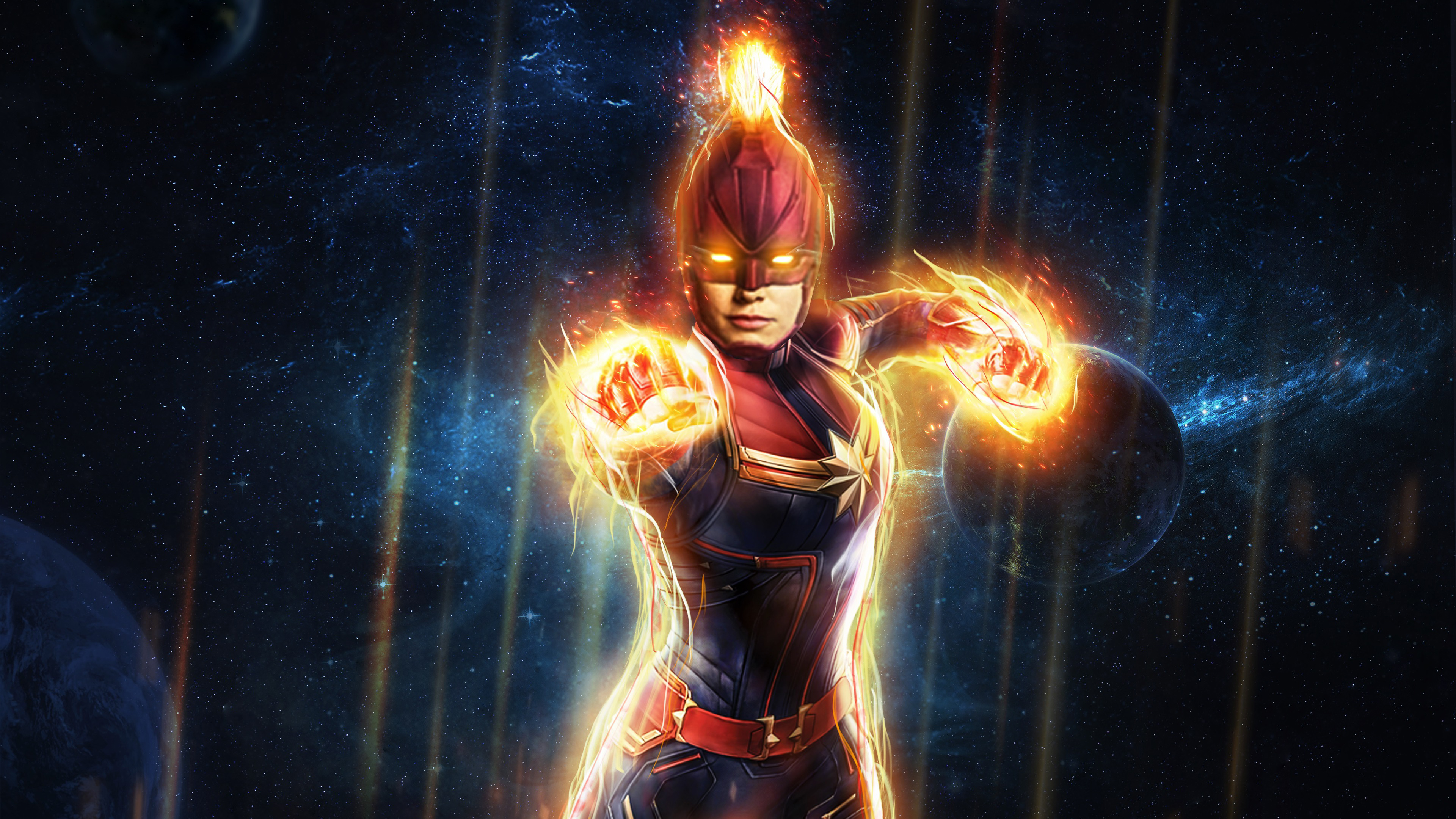 Captain Marvel Flying High In Space Hd Superheroes 4k Wallpapers