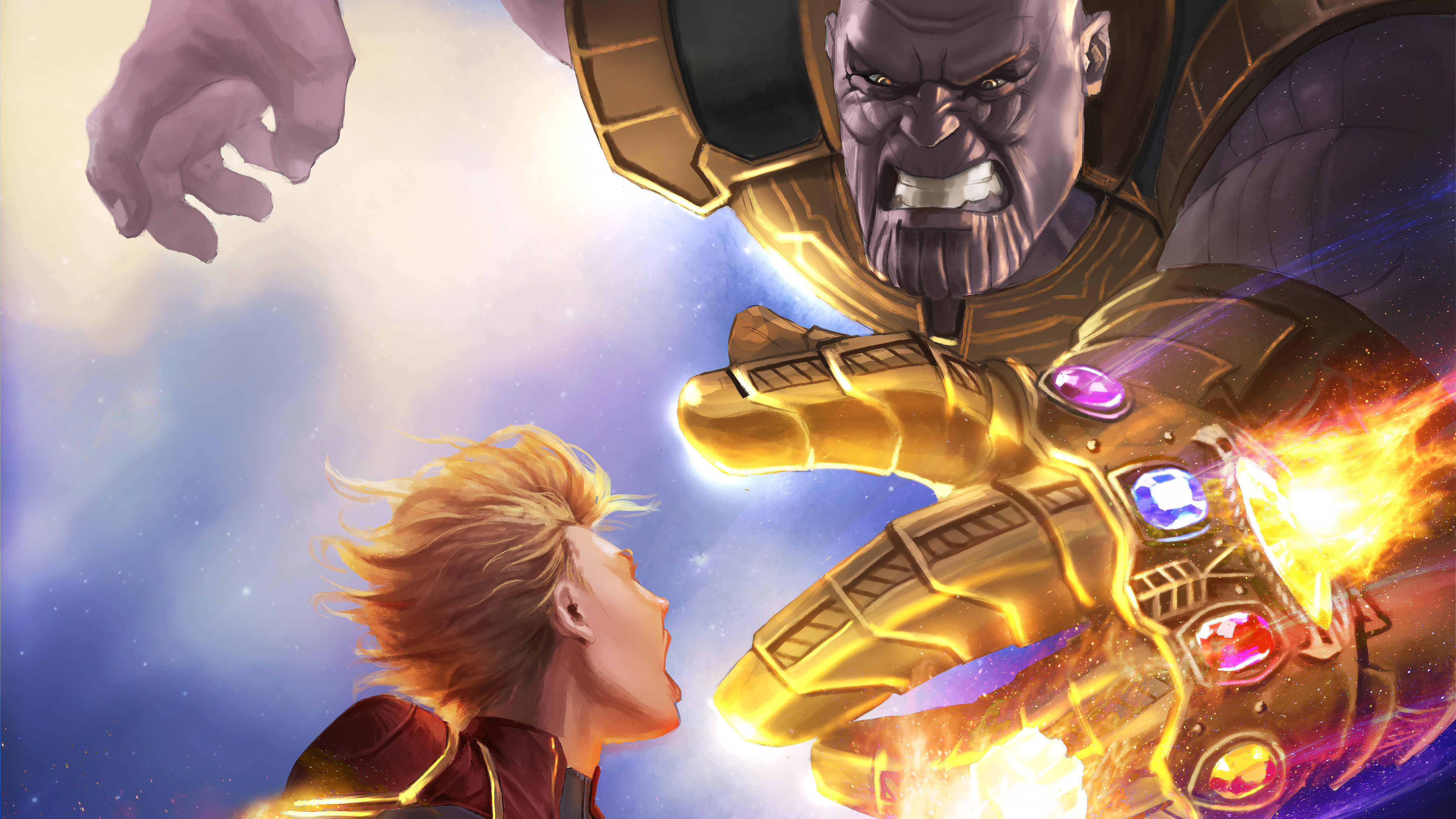 Thanos Hd Wallpaper: Captain Marvel Vs Thanos 5k Artwork, HD Superheroes, 4k