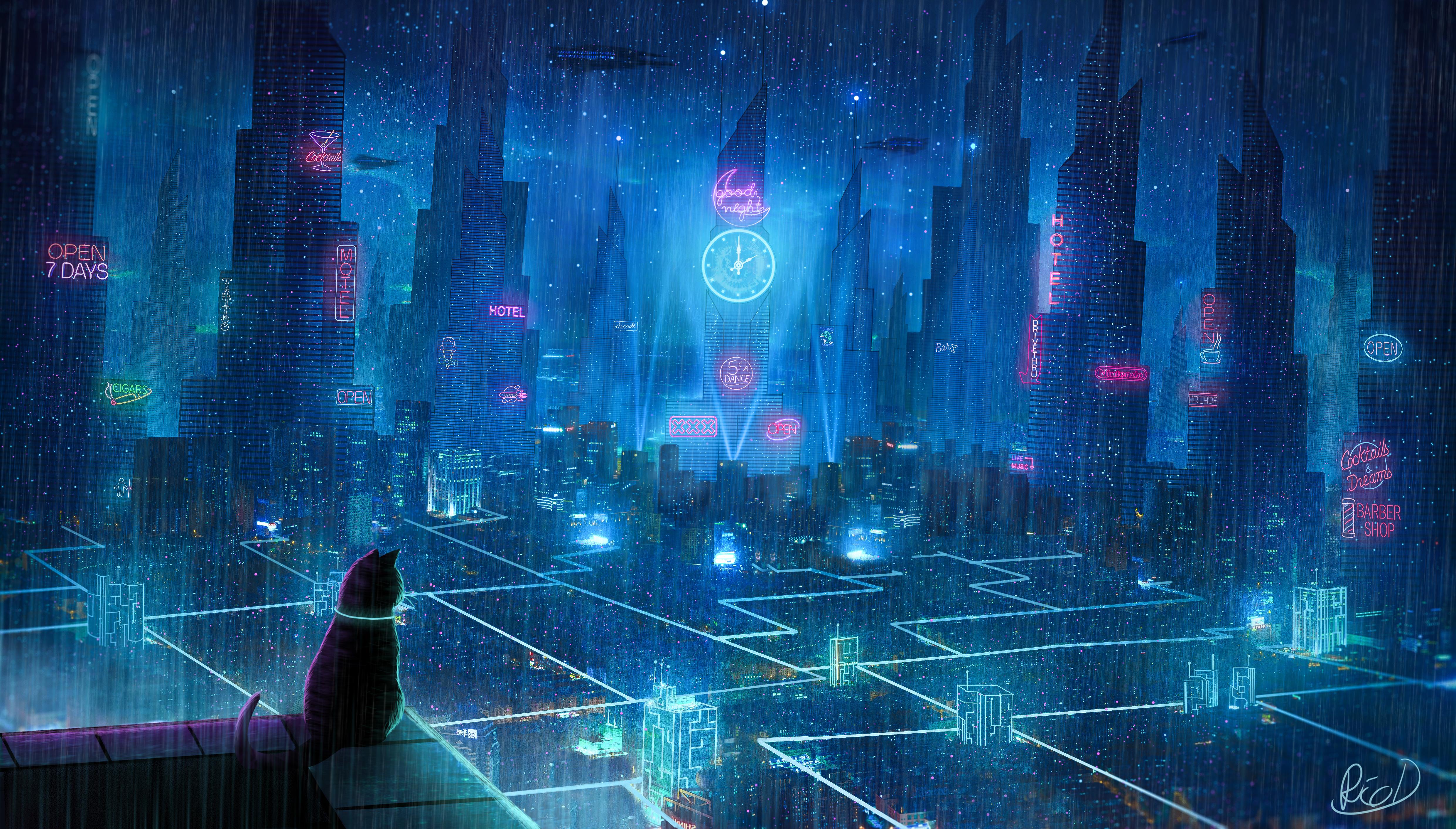 Cat Rain Dream Cyberpunk City 4k, HD Artist, 4k Wallpapers ...