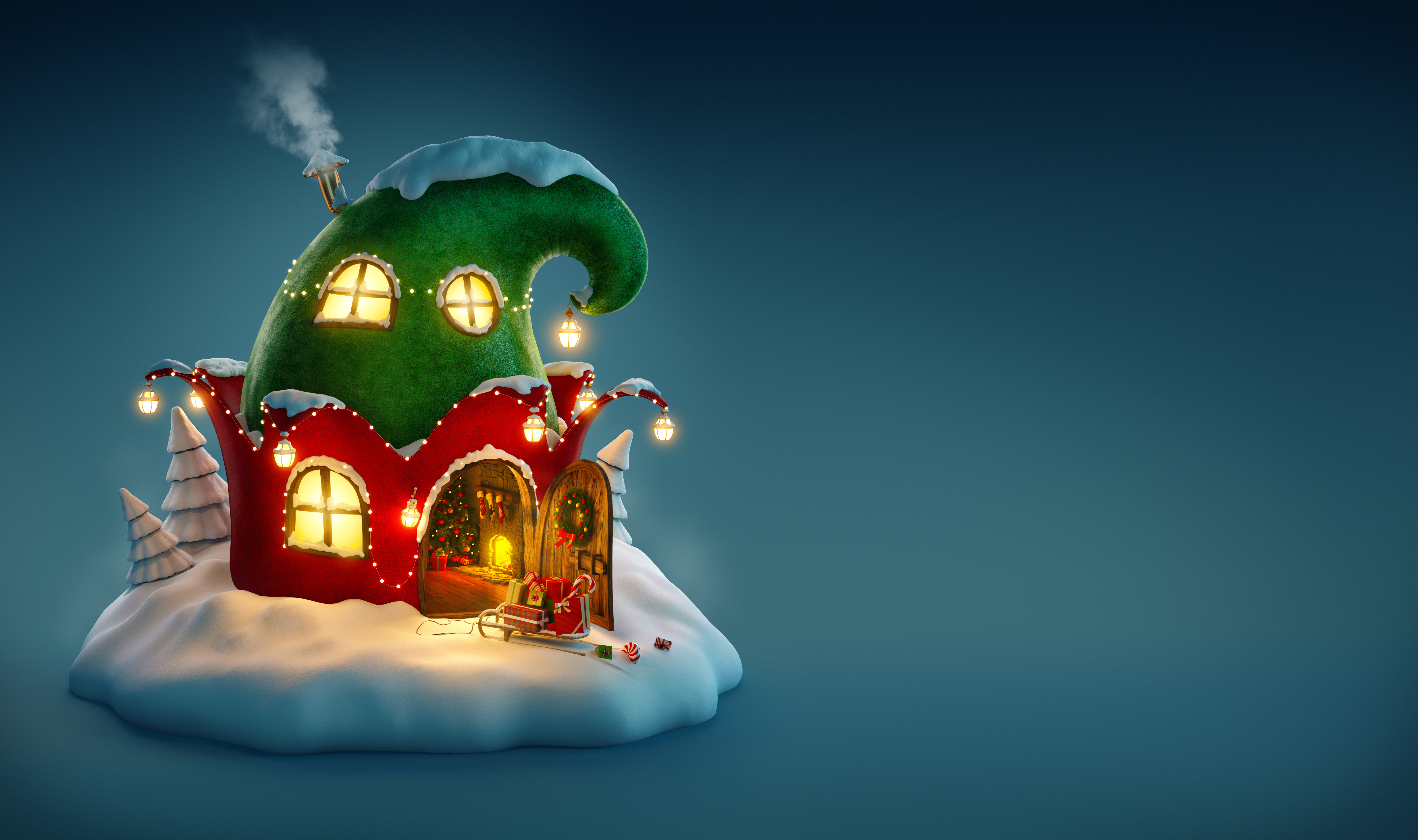 christmas fairy house 4k, hd celebrations, 4k wallpapers, images