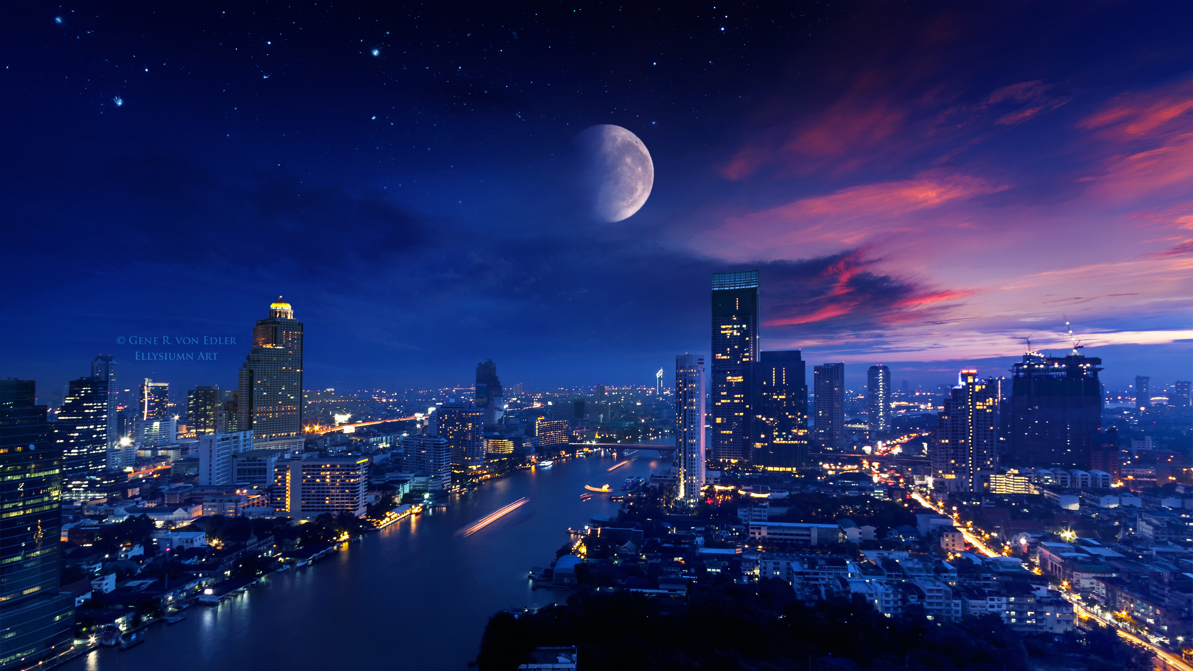 City Lights Moon Vibrant 4k, HD Photography, 4k Wallpapers ...