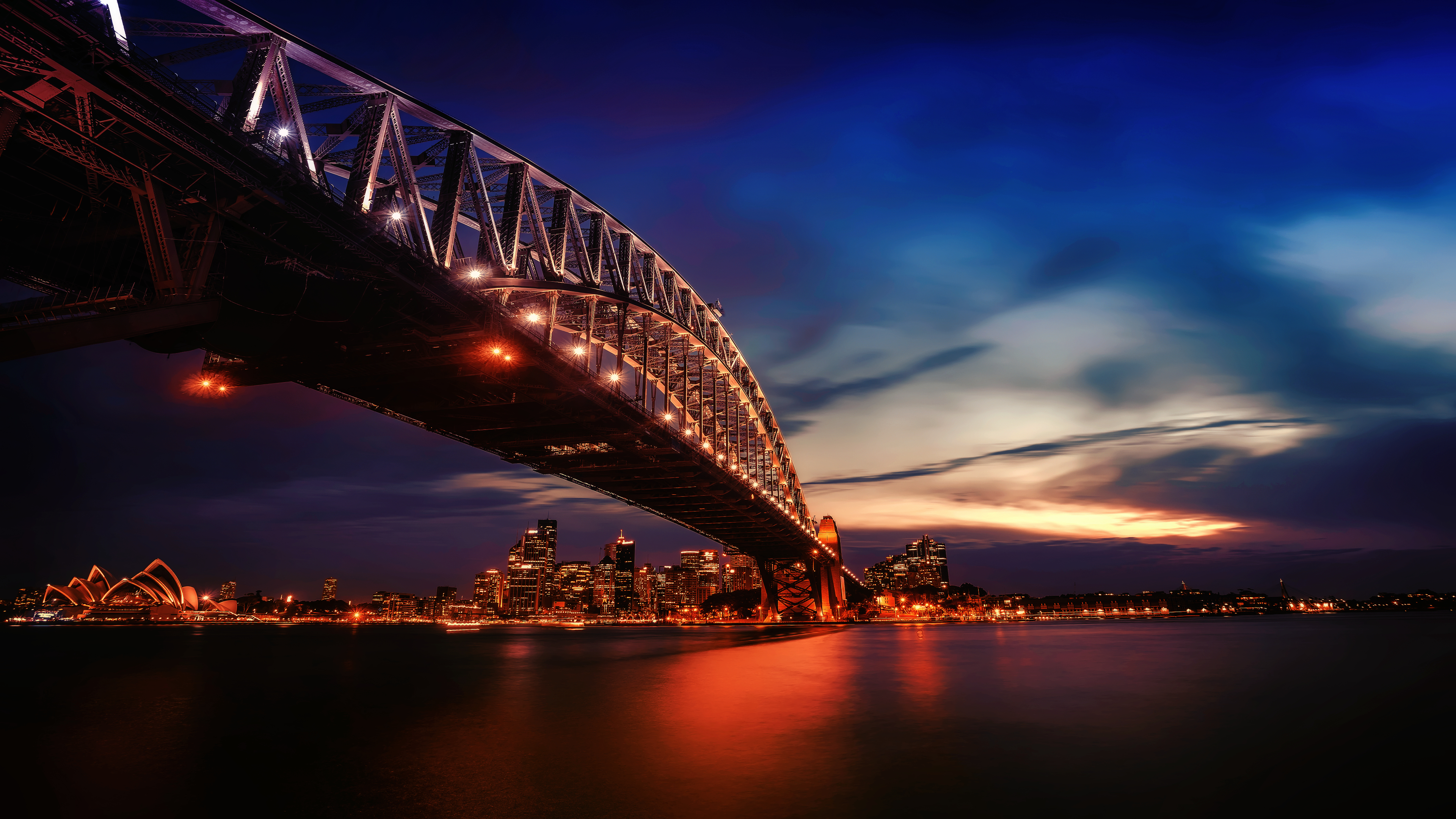 City Lights Sydney Harbour Bridge 4k