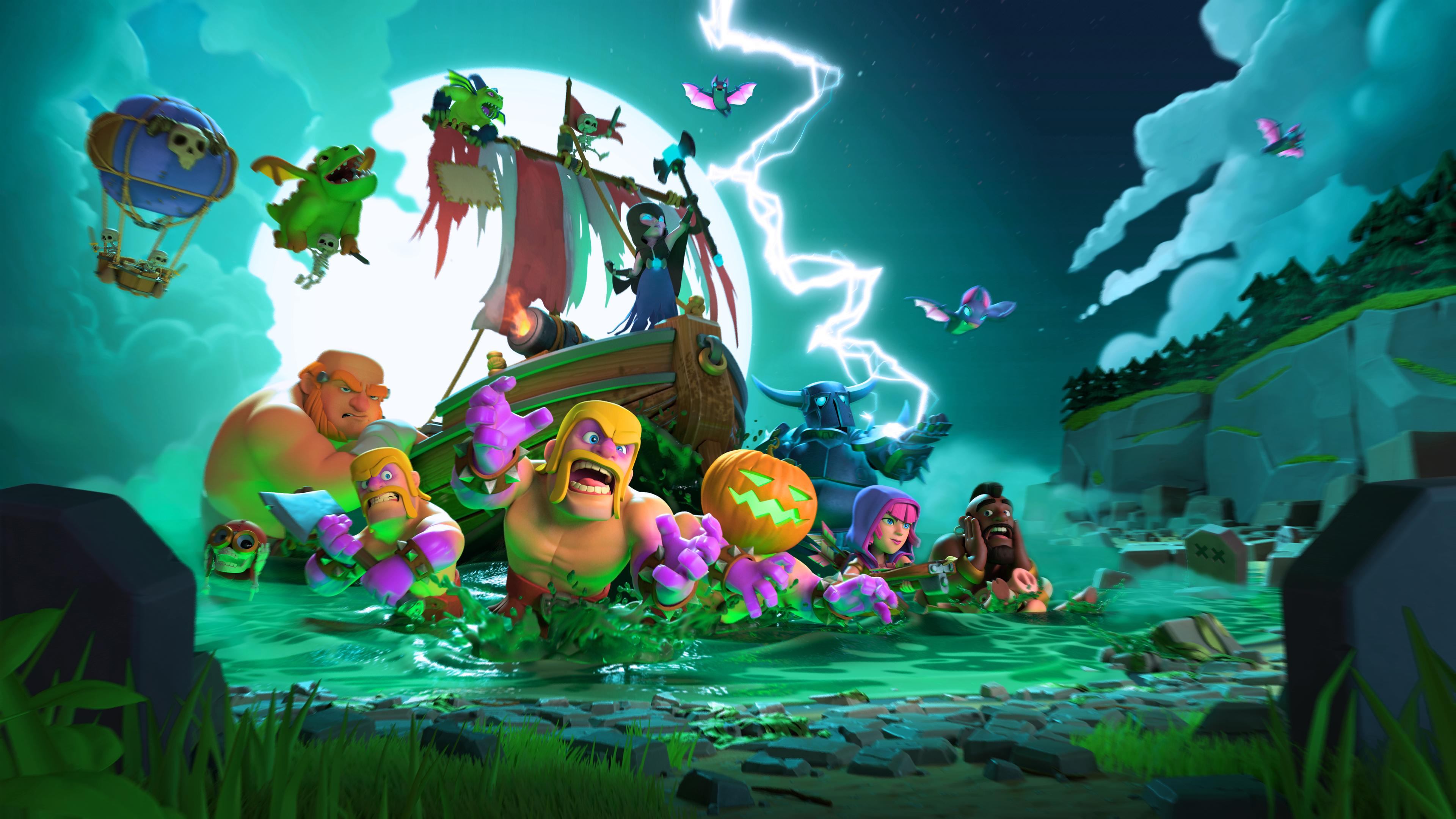 clash of clans halloween 4k hd games 4k wallpapers images