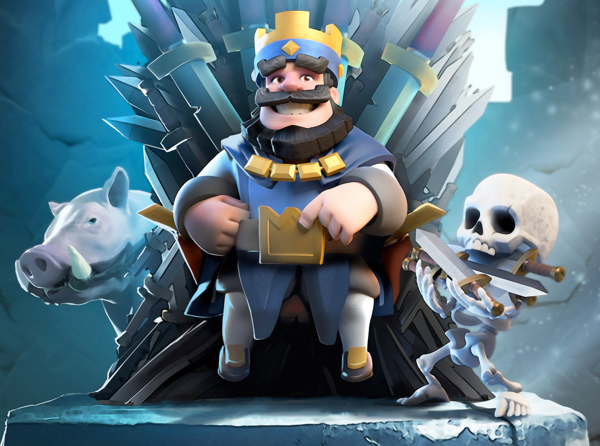 clash royale blue king hd | games hd 4k wallpapers
