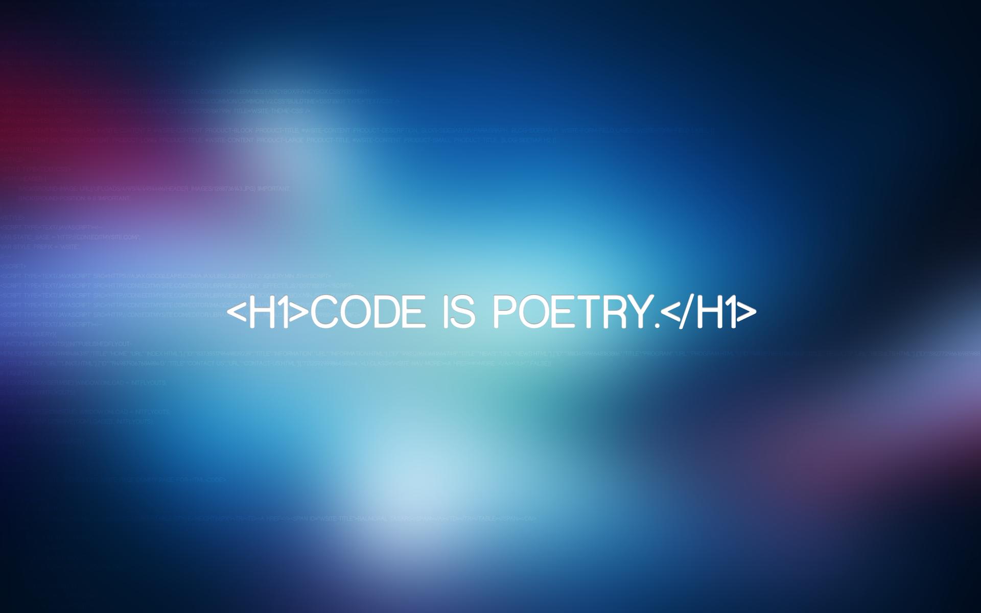 Code Is Poetry Laptop HD