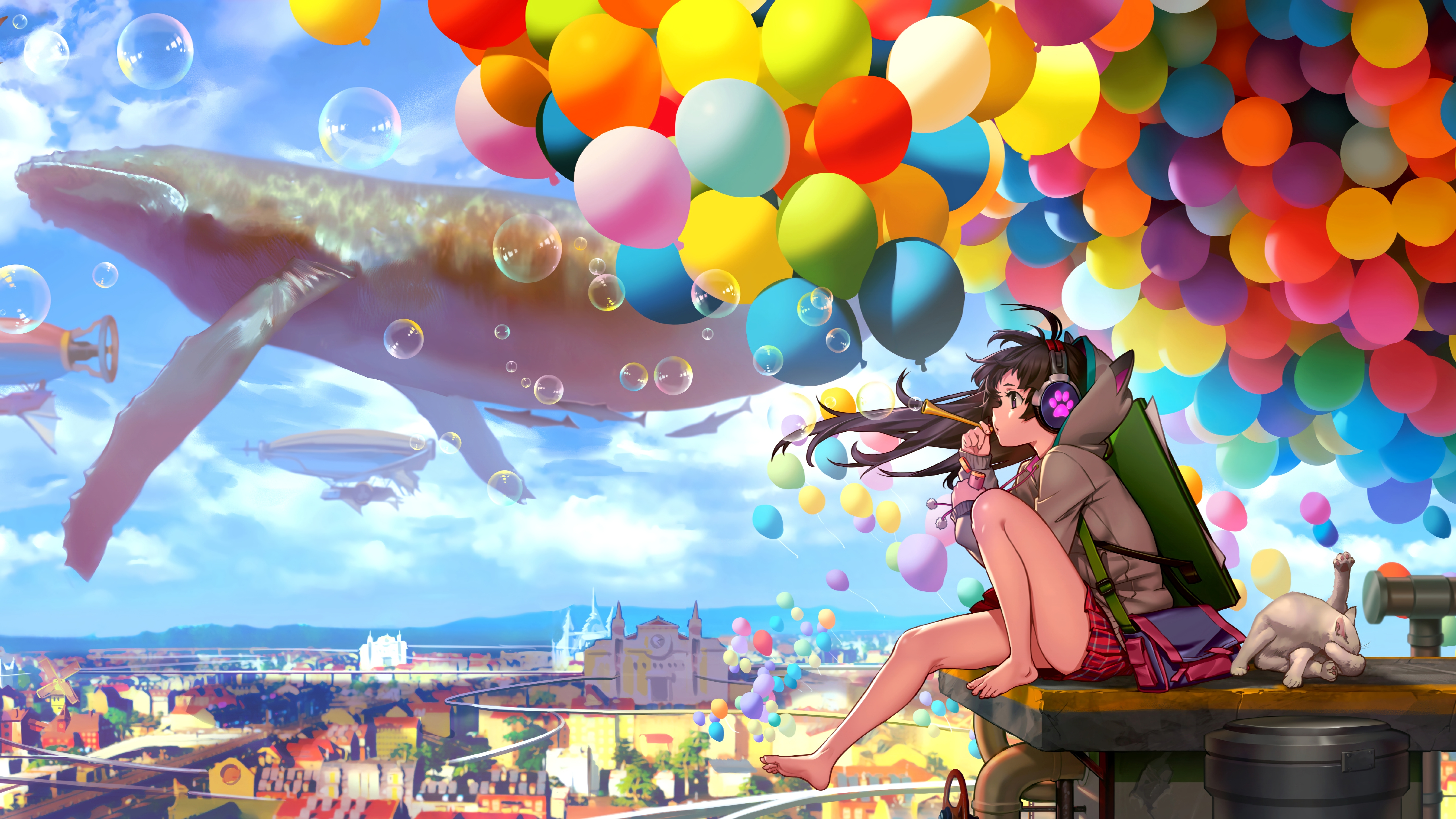 Colorful City Anime Girl Blowing Bubbles, HD Anime, 4k ...