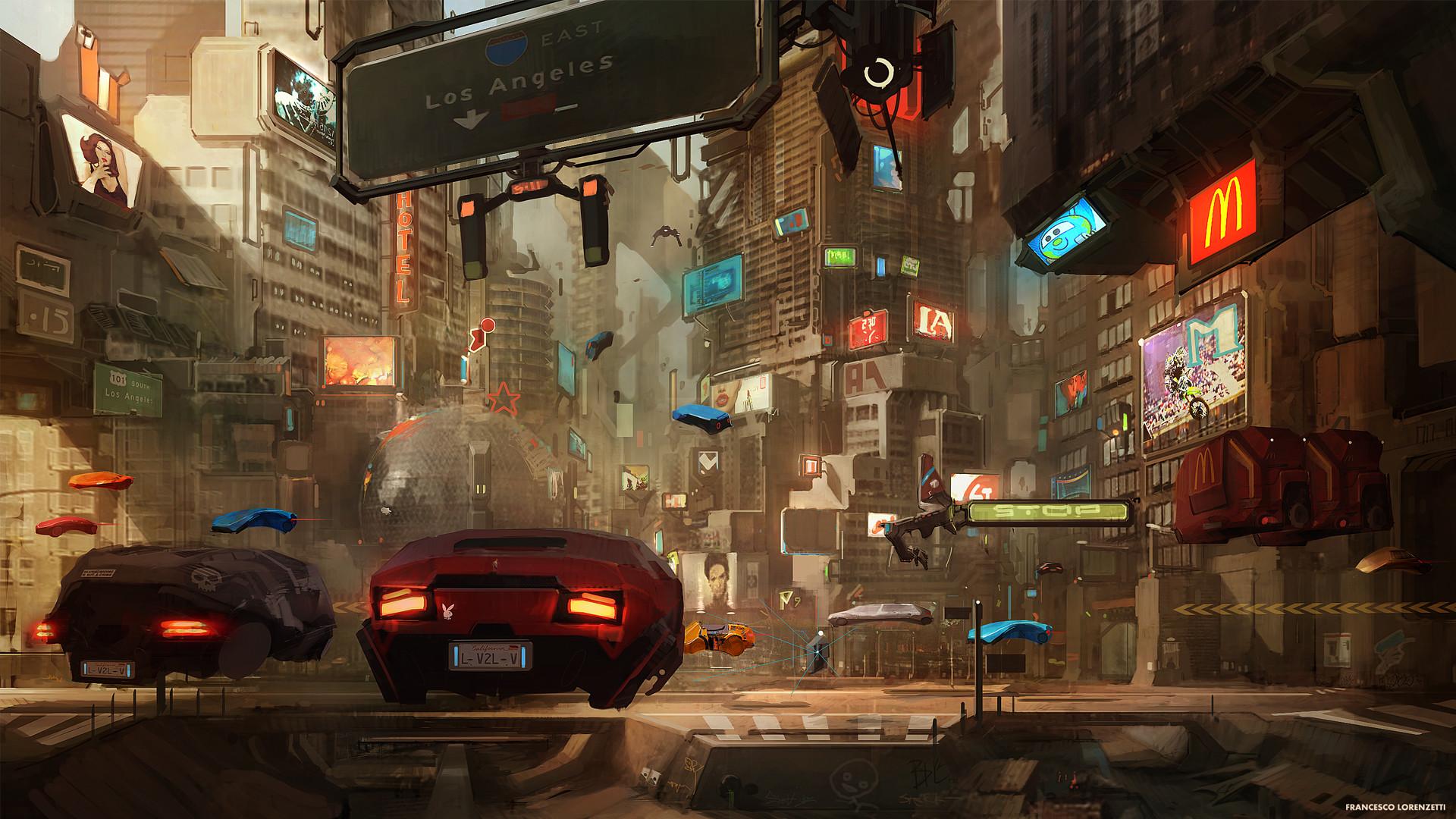 artwork, Fantasy Art, Anime, Cyborg, Futuristic, City