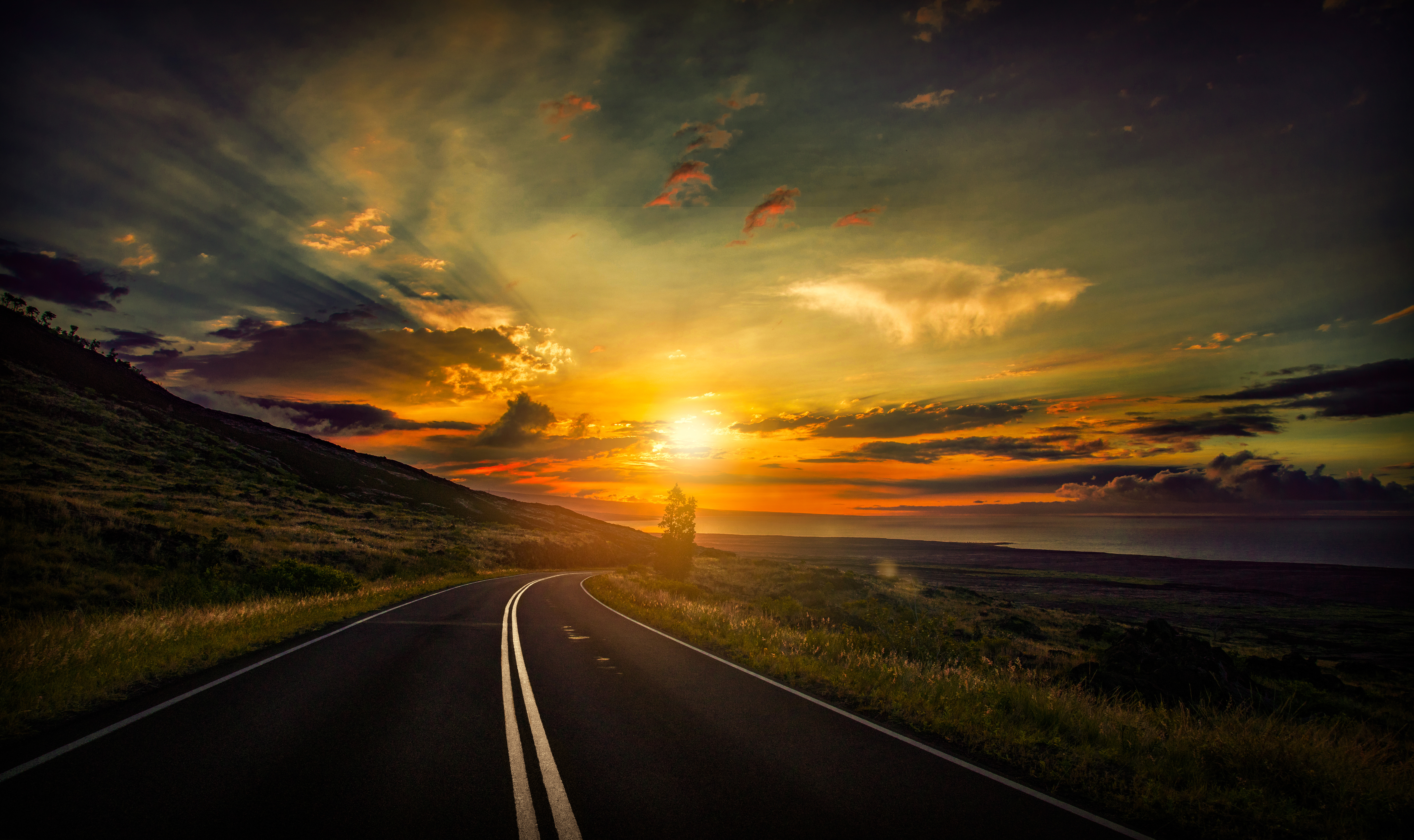 Cool Sunset Road View 8k