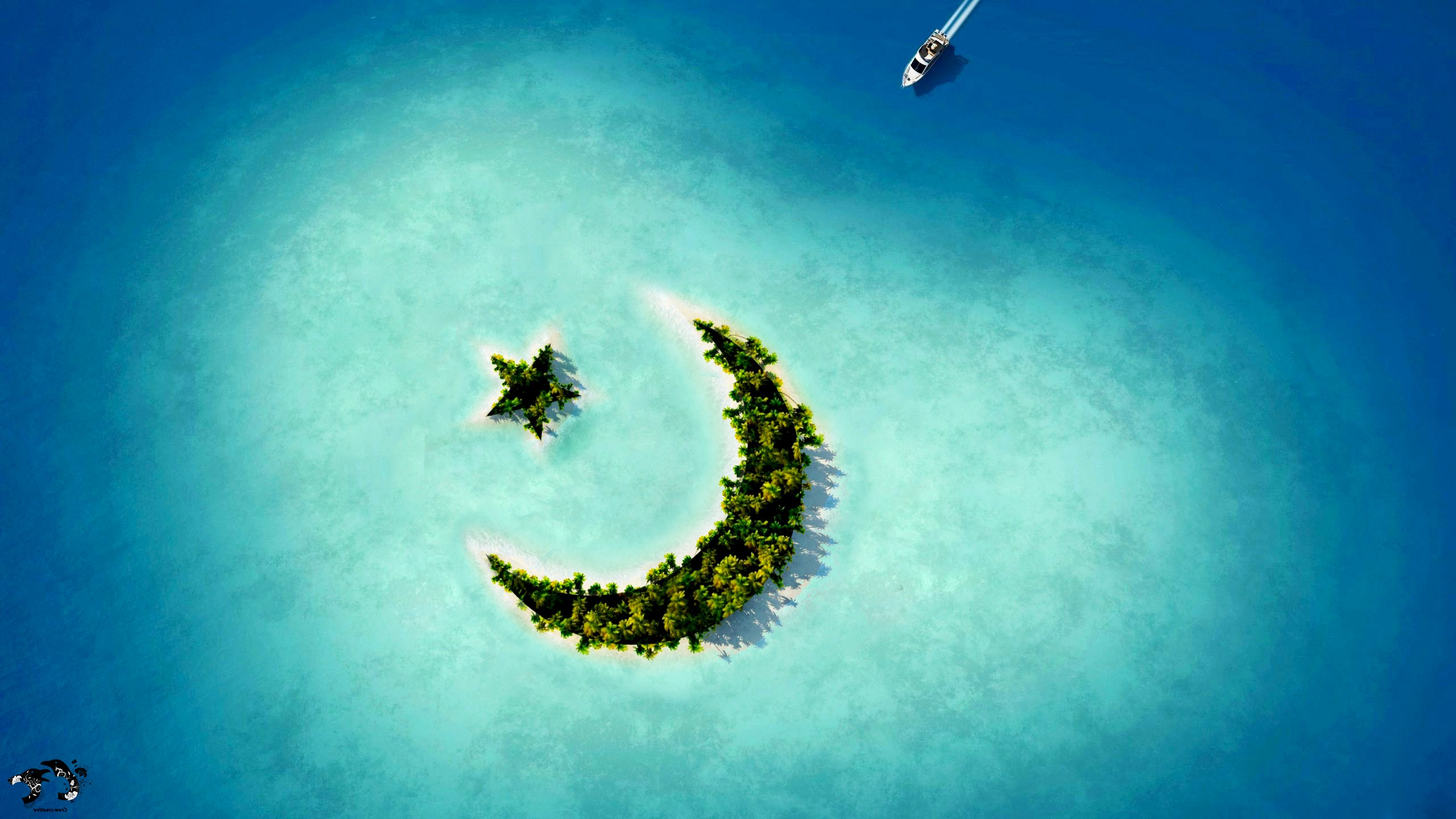 2560x1440 crescent moon star island 1440p resolution hd 4k