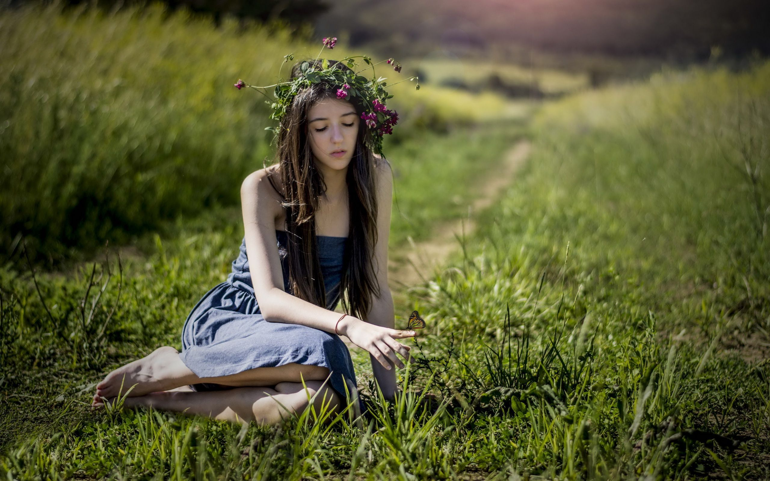 Cute girl butterfly grass hd girls 4k wallpapers images backgrounds photos and pictures - Very cute girl wallpaper hd ...