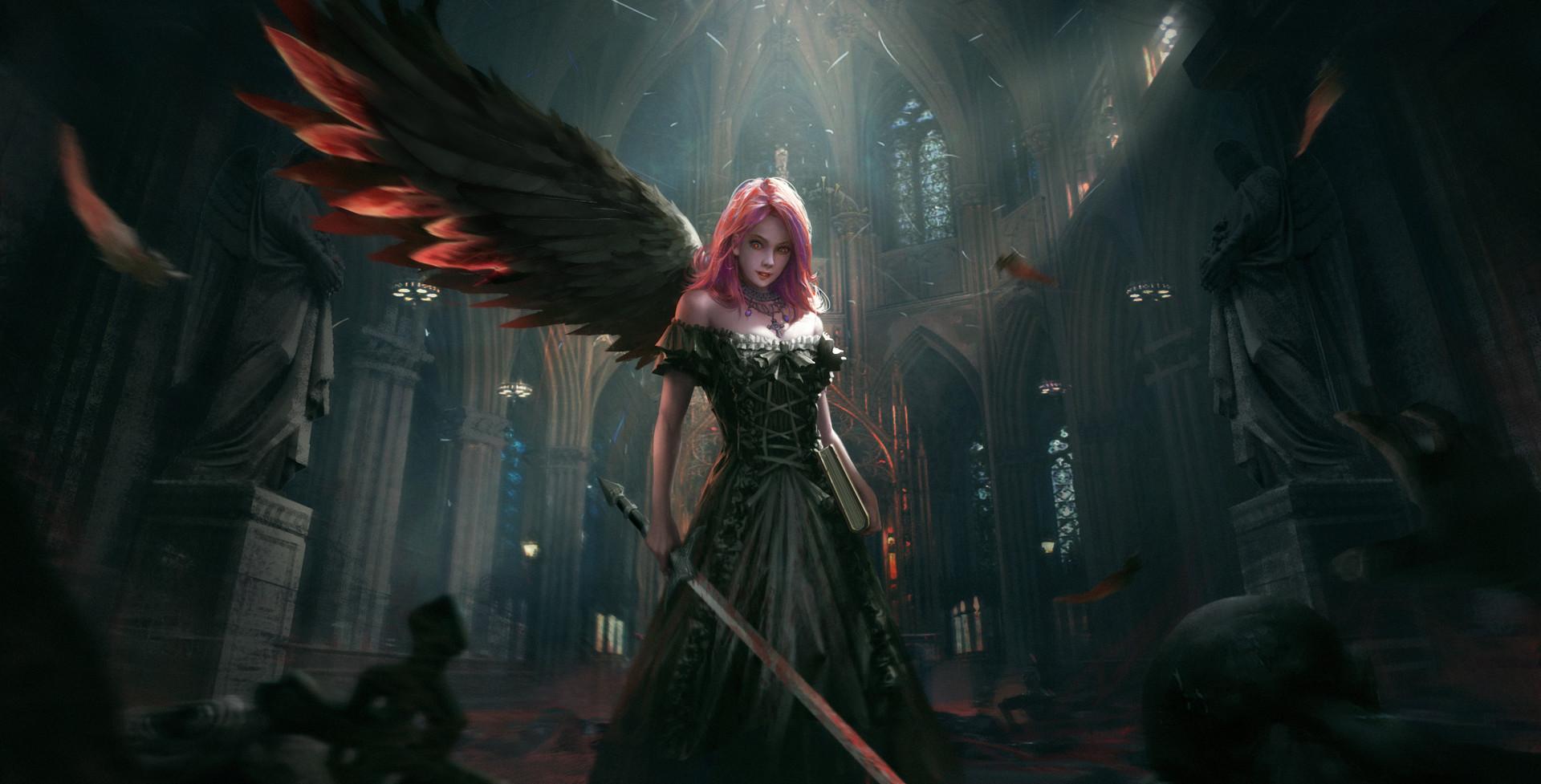 Artwork Fantasy Art Angel Wallpapers Hd Desktop And: Dark Angel, HD Fantasy Girls, 4k Wallpapers, Images