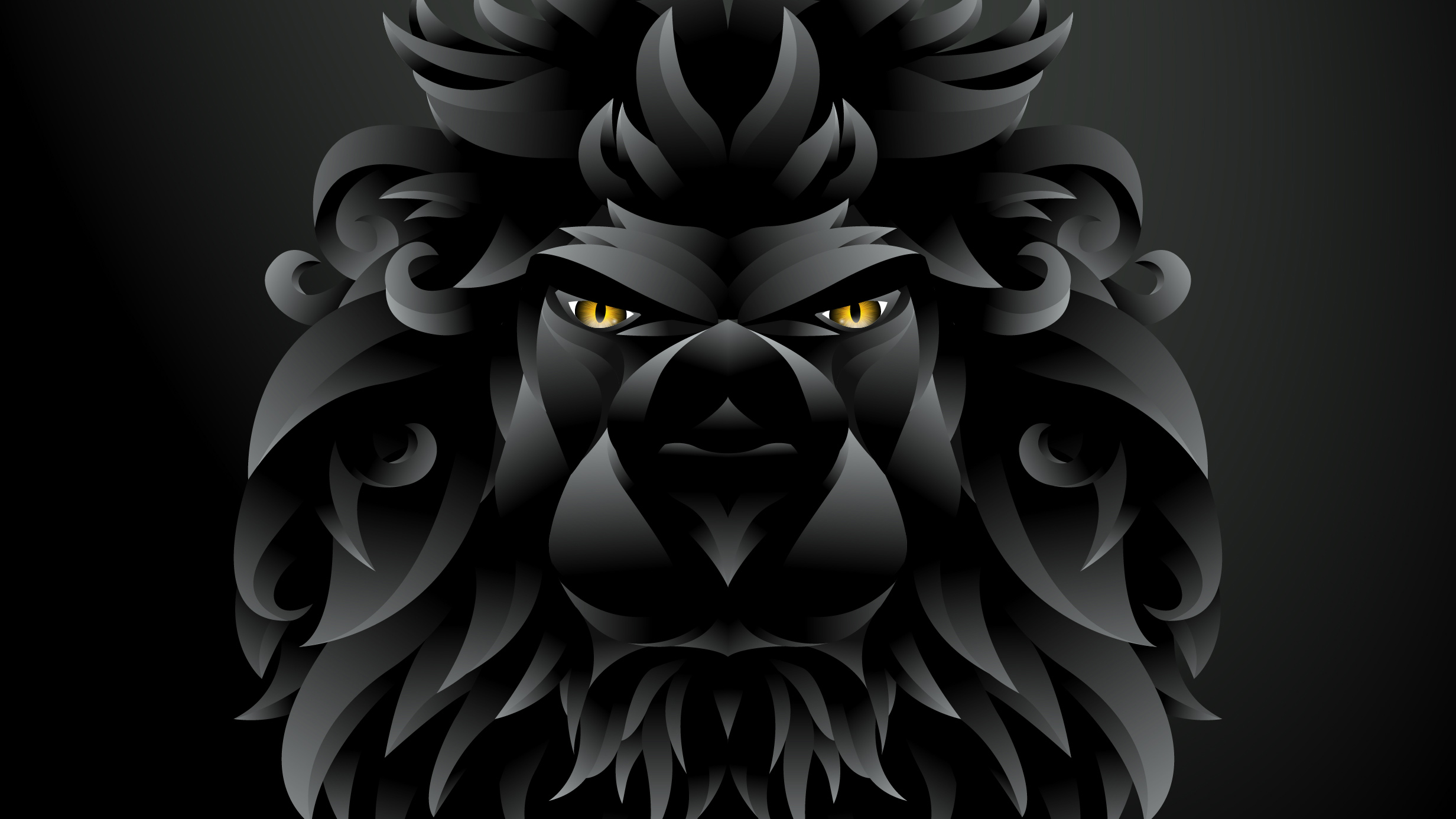 Dark Black Lion Illustration Hd Artist 4k Wallpapers Images