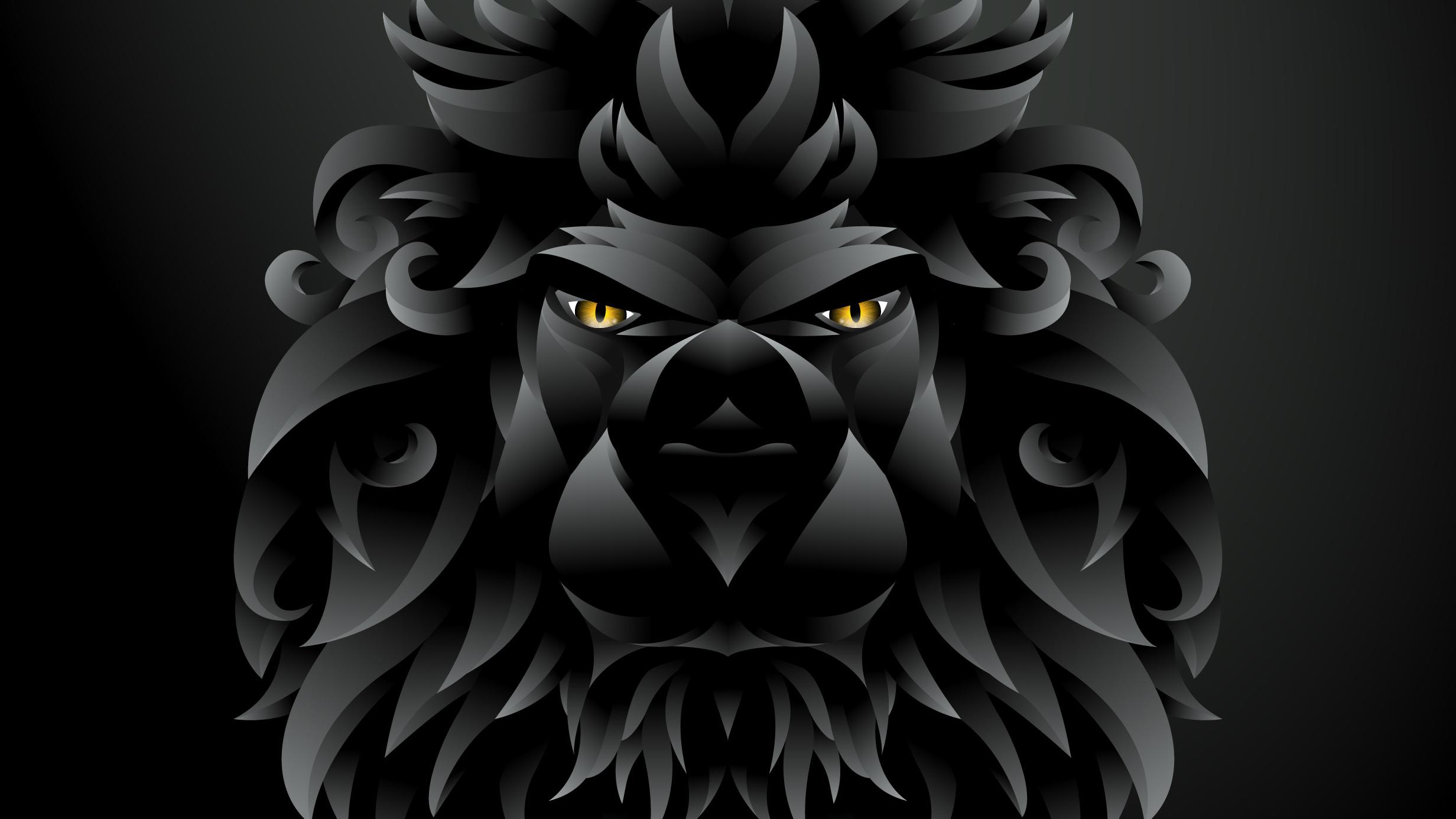 1600x1200 Dark Black Lion Illustration 1600x1200 Resolution