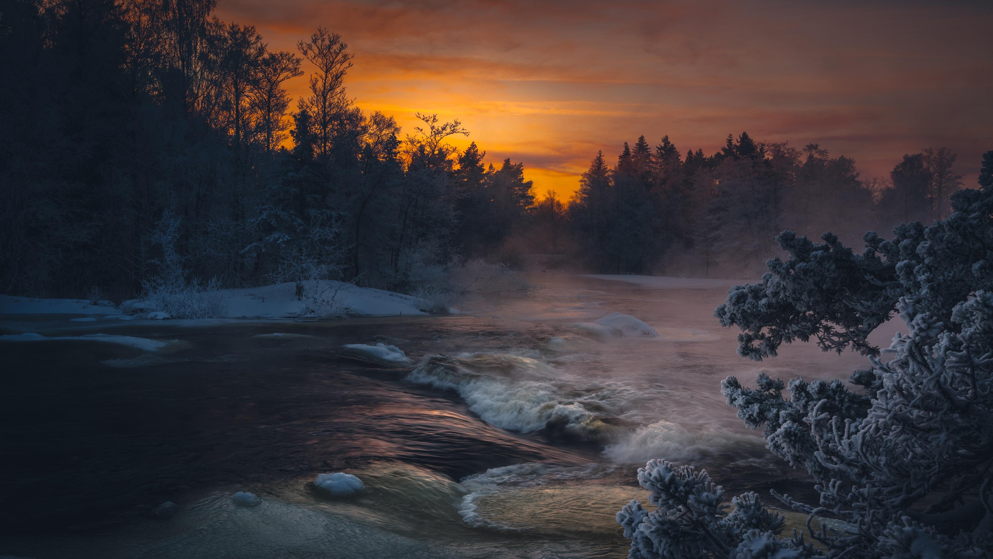 Dark Winter Lake Sunlight 4k, HD Nature, 4k Wallpapers ...