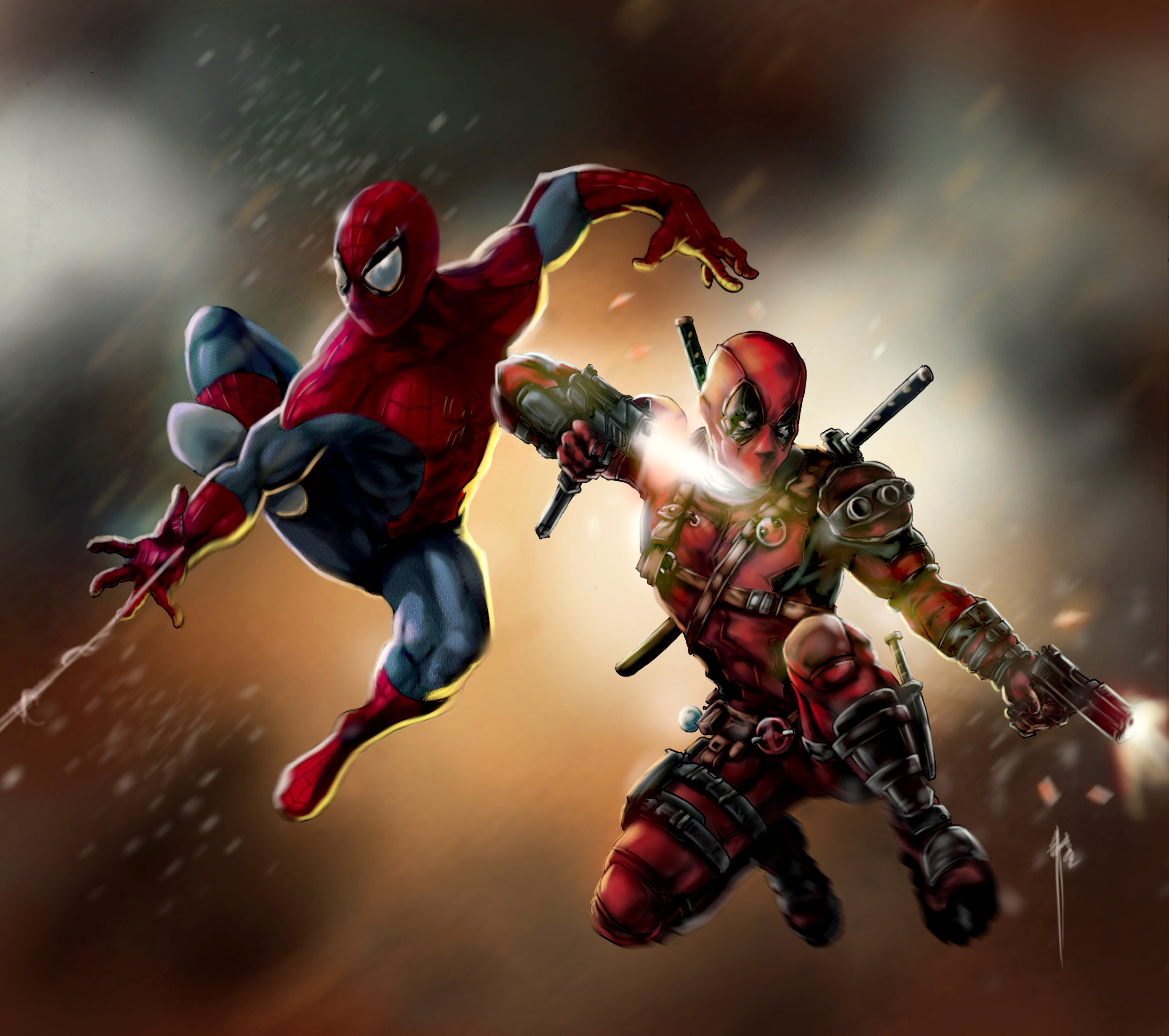 Deadpool And Spiderman Hd Superheroes 4k Wallpapers Images