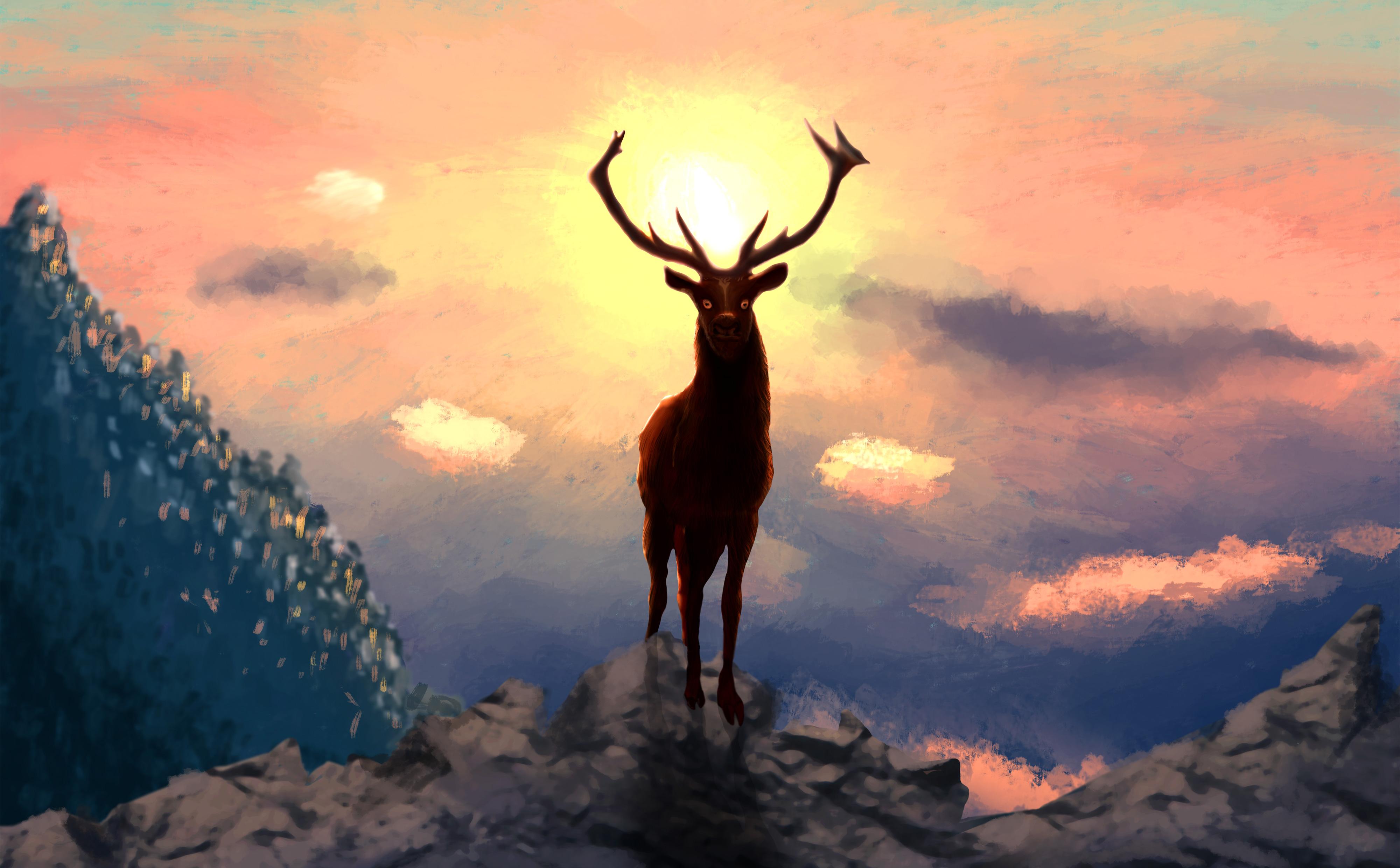 Misty Deer 4k Hd Desktop Wallpaper For 4k Ultra Hd Tv: Deer Artwork 4k, HD Artist, 4k Wallpapers, Images